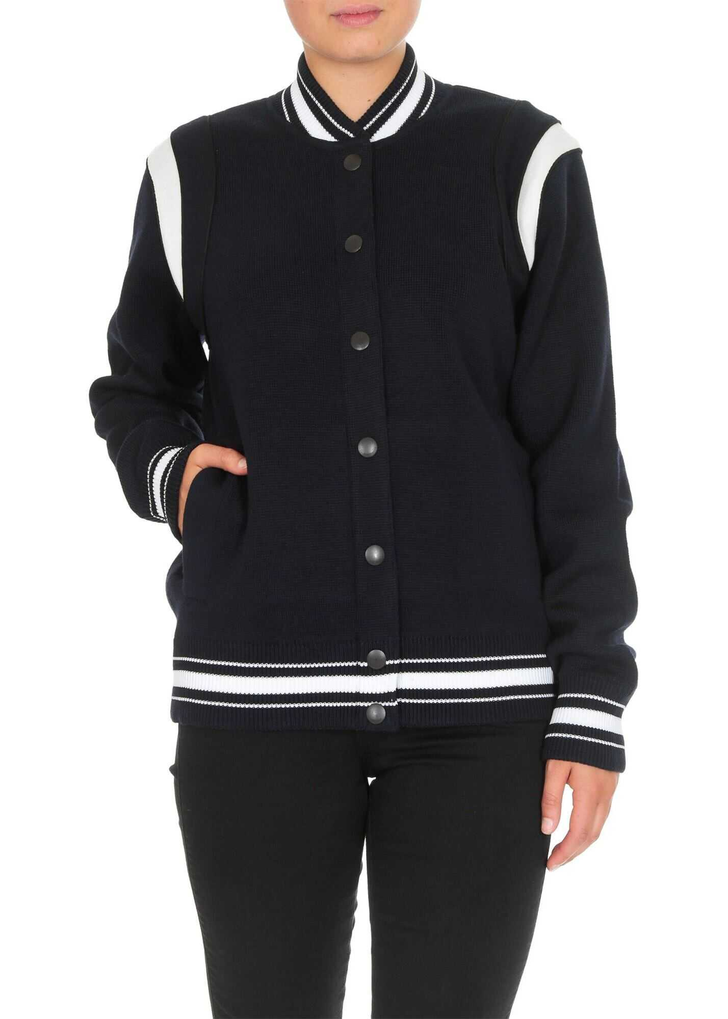 Givenchy Navy Blue Bomber With Rear Lettering Blue