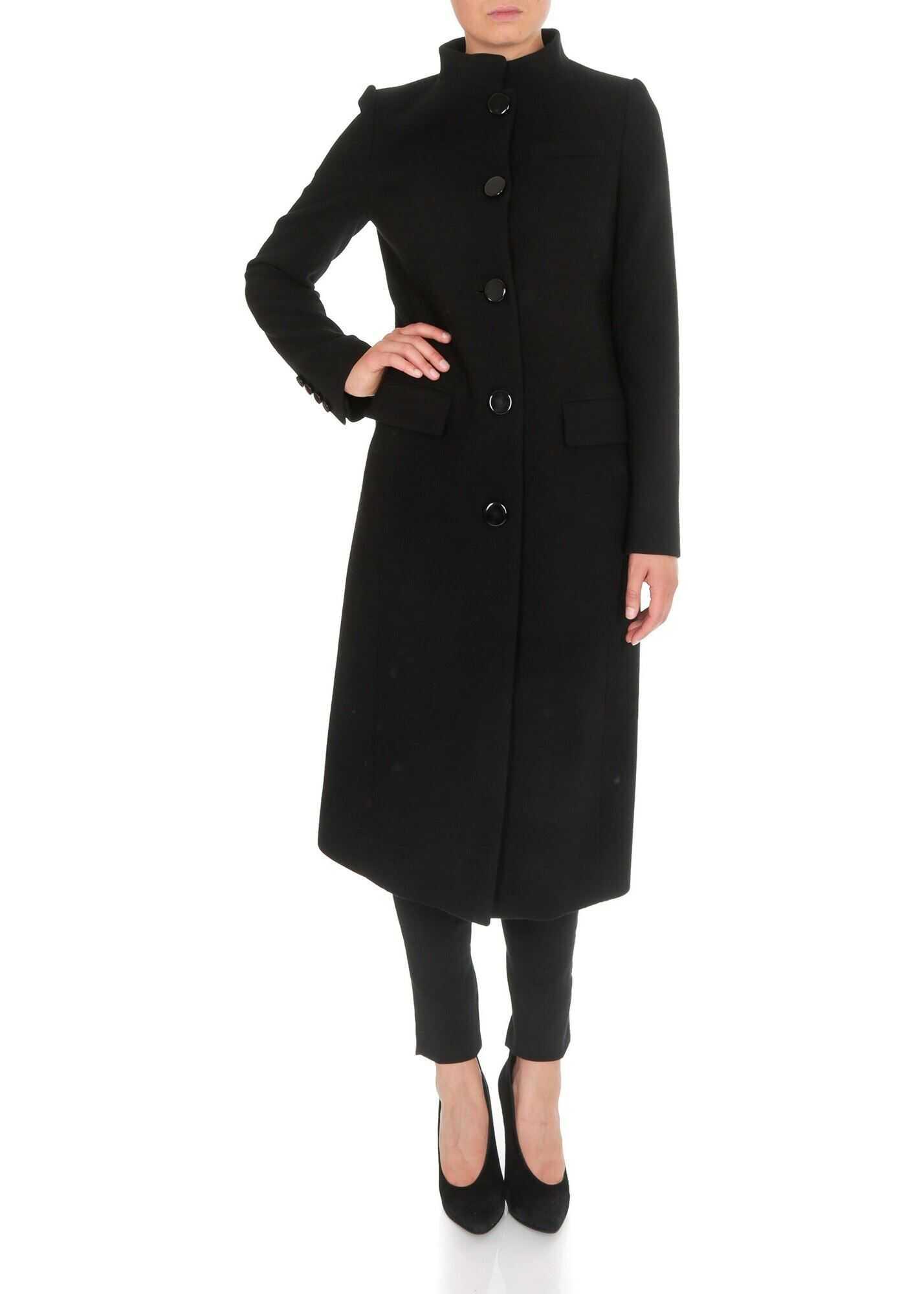 Givenchy Black Wool Coat With Mandarin Collar Black