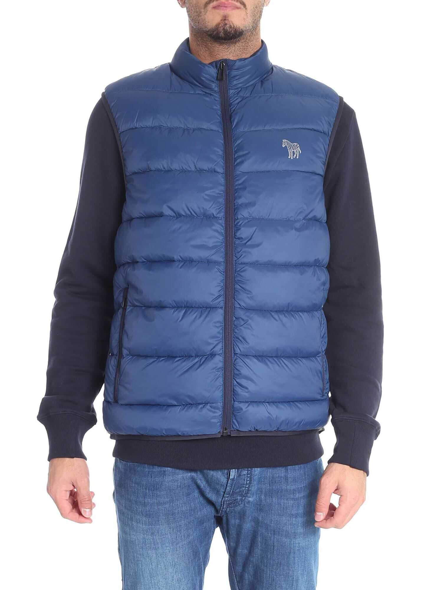 PS by Paul Smith Blue Sleeveless Down Jacket With Zip Blue