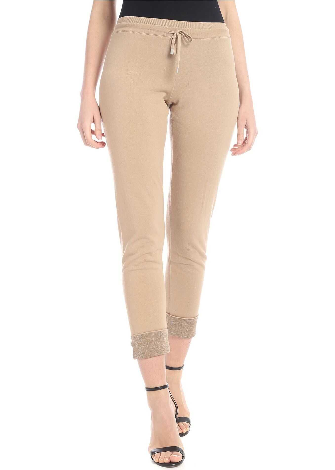 Kangra Cashmere Beige Knitted Trousers With Lamè Thread Beige