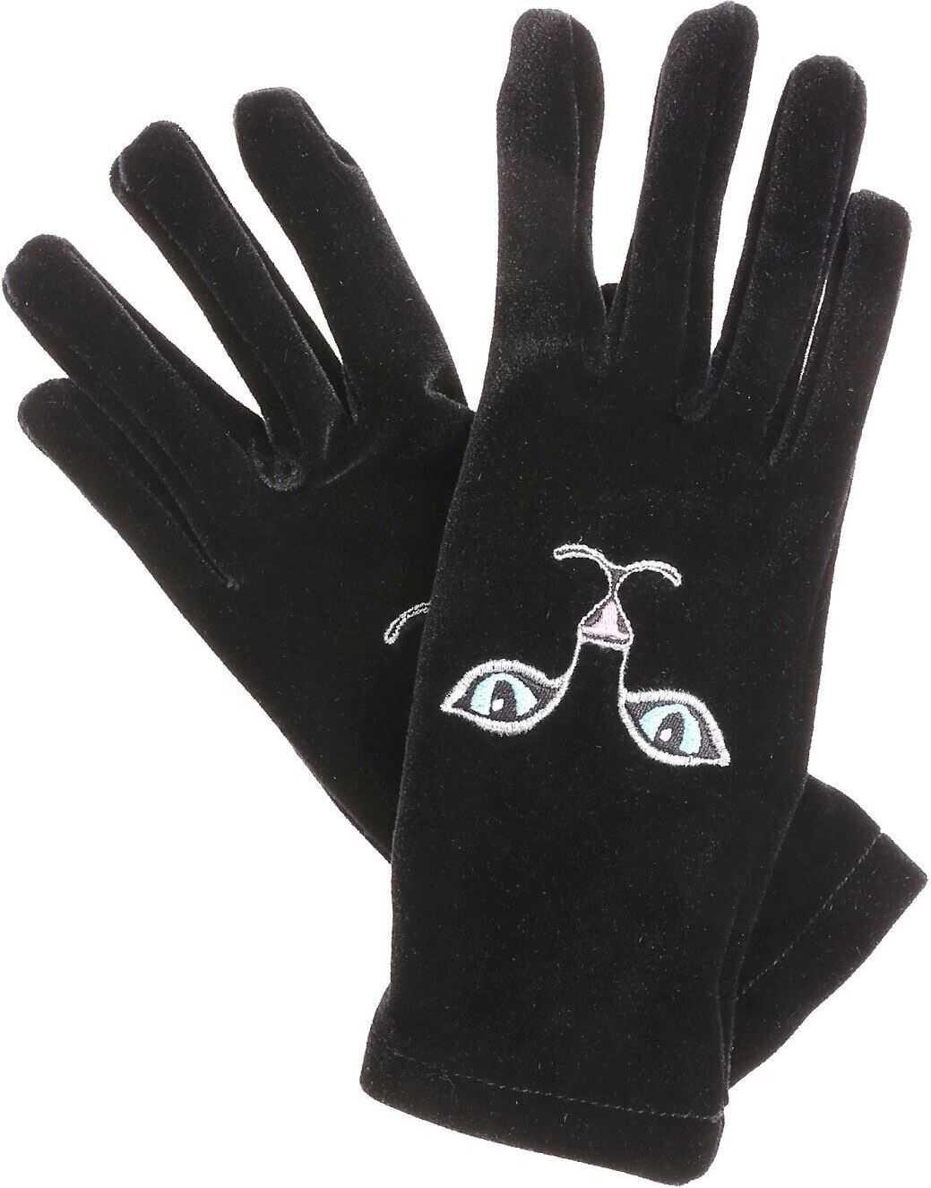 Vivetta Black Heise Cat Embroidered Gloves Black