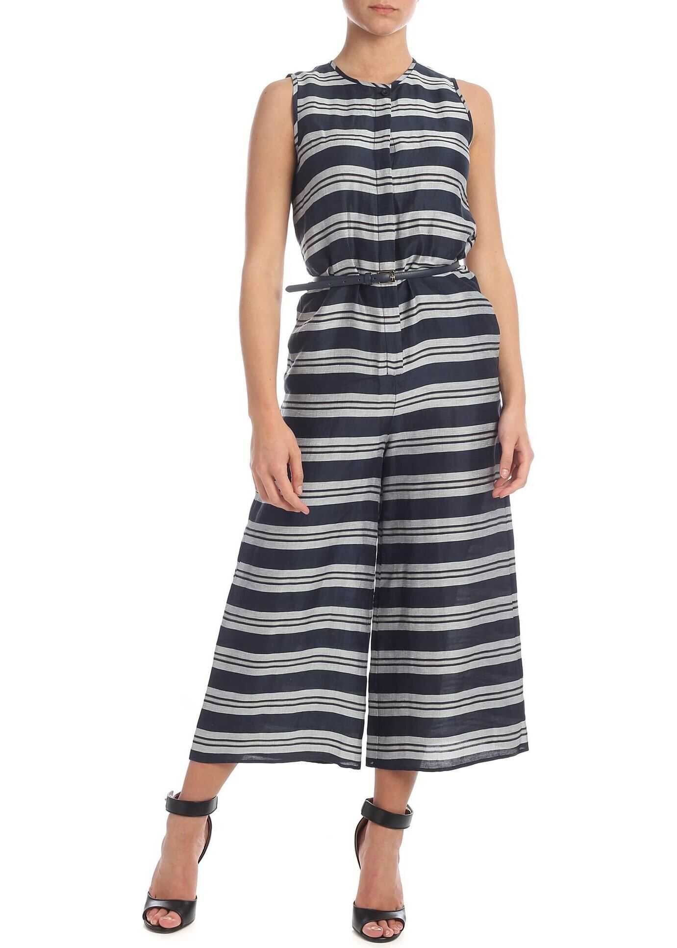 Max Mara Studio Merano Jumpsuit In Blue With Gray Stripes Blue