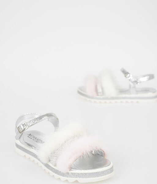 Sandale Fete Monnalisa Leather and Fur Sandal