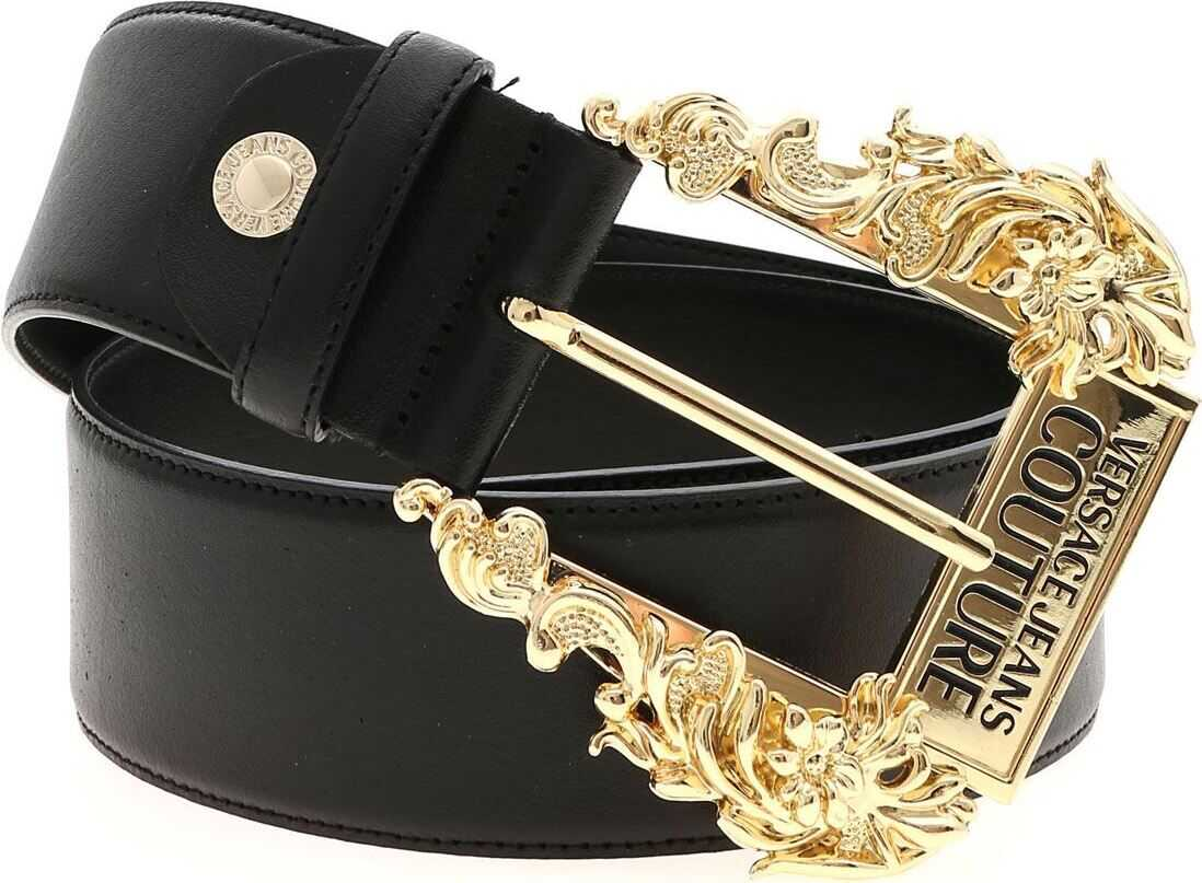 Versace Jeans Black Leather Belt With Logo Buckle Black