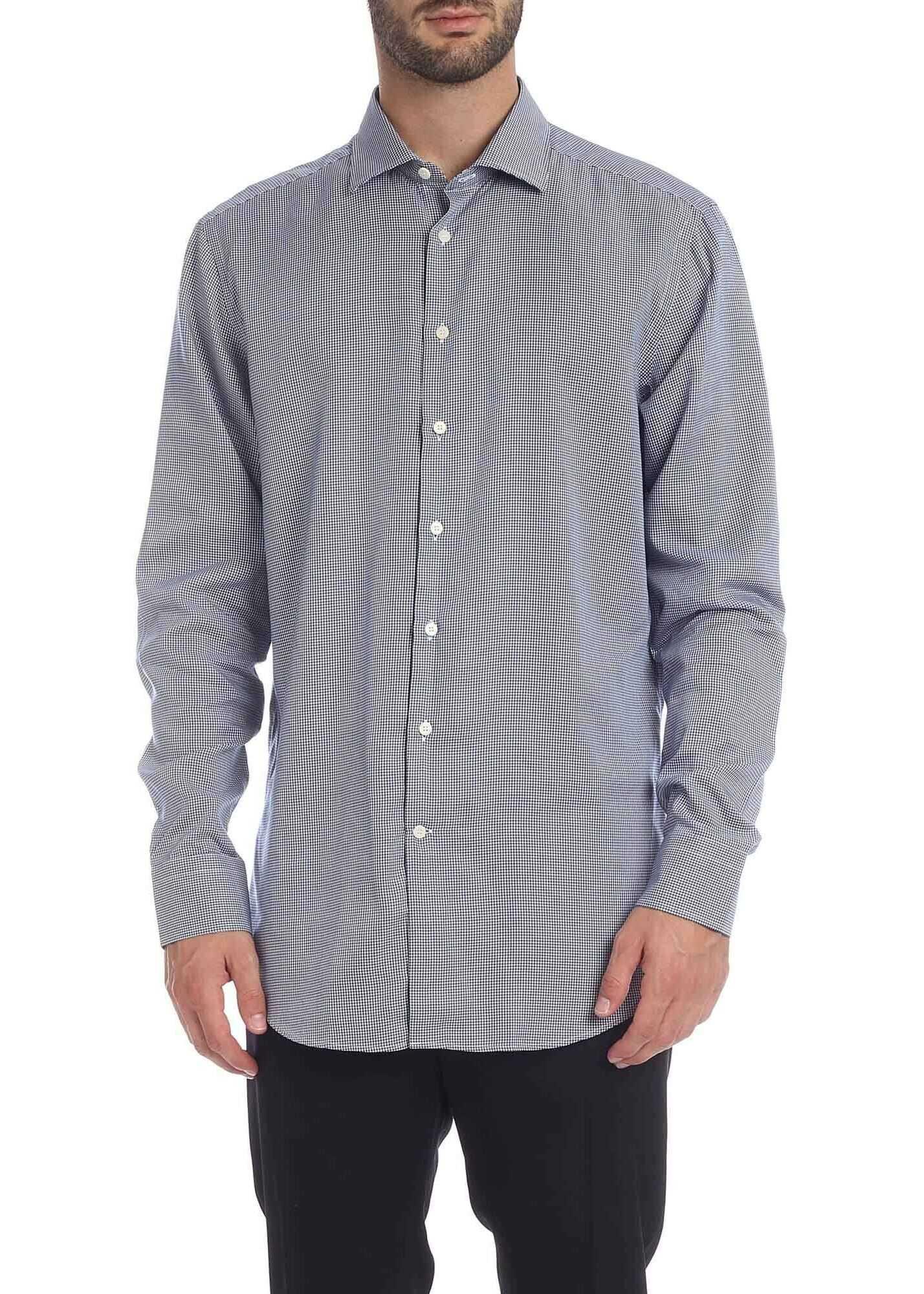 ETRO Pied De Poule Shirt In White And Blue Blue imagine
