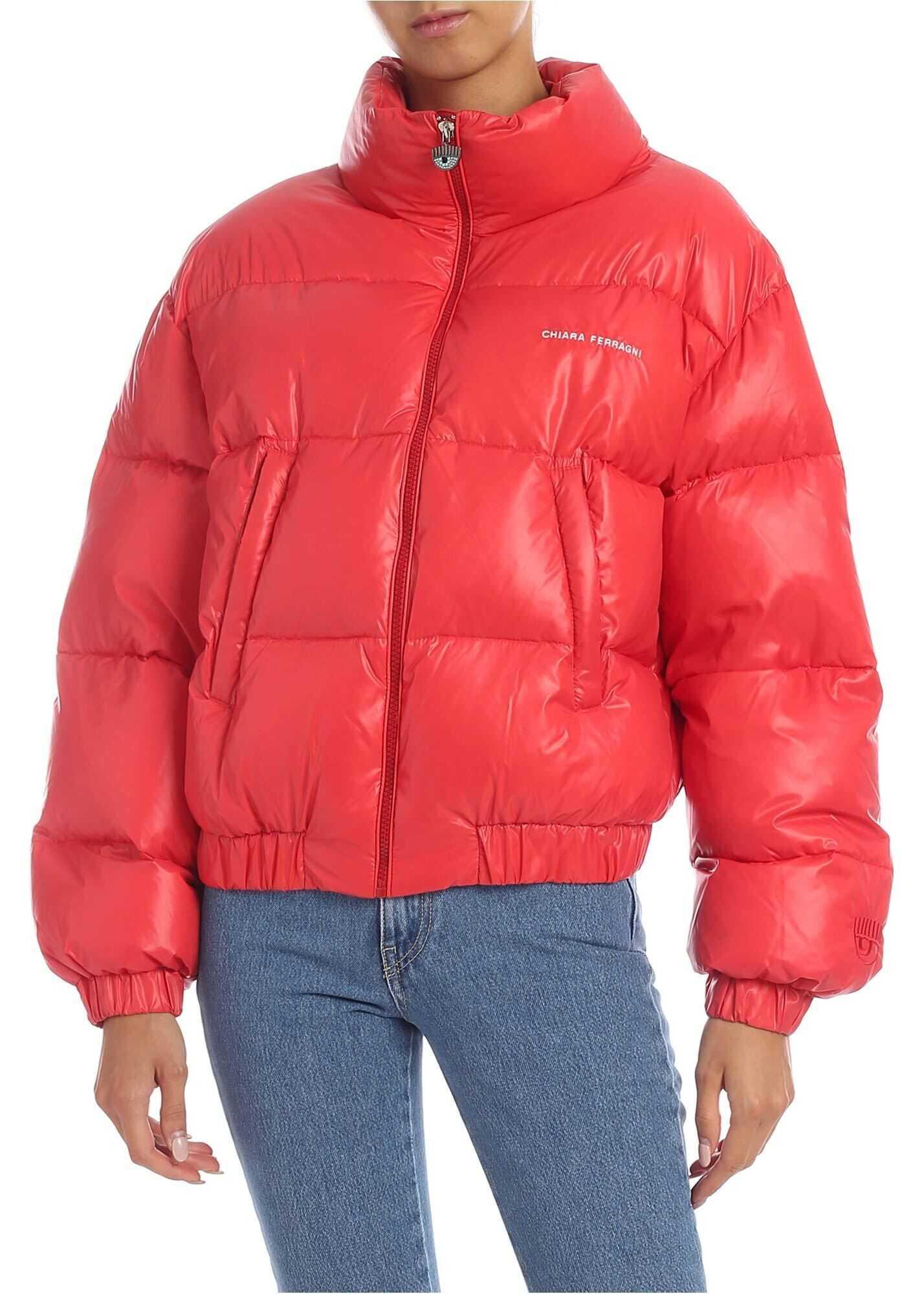 Chiara Ferragni Down Jacket With Logo Embroidery In Red Red
