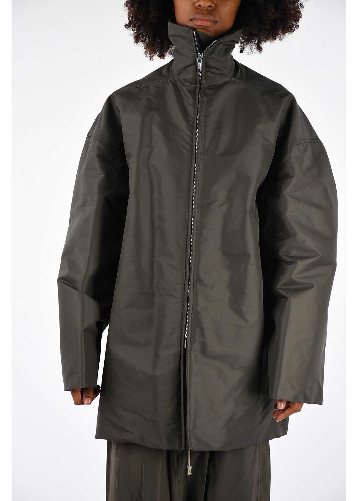 Rick Owens Nylon Cotton JUMBO WIMBREAKER Jacket DARK DUST GRAY