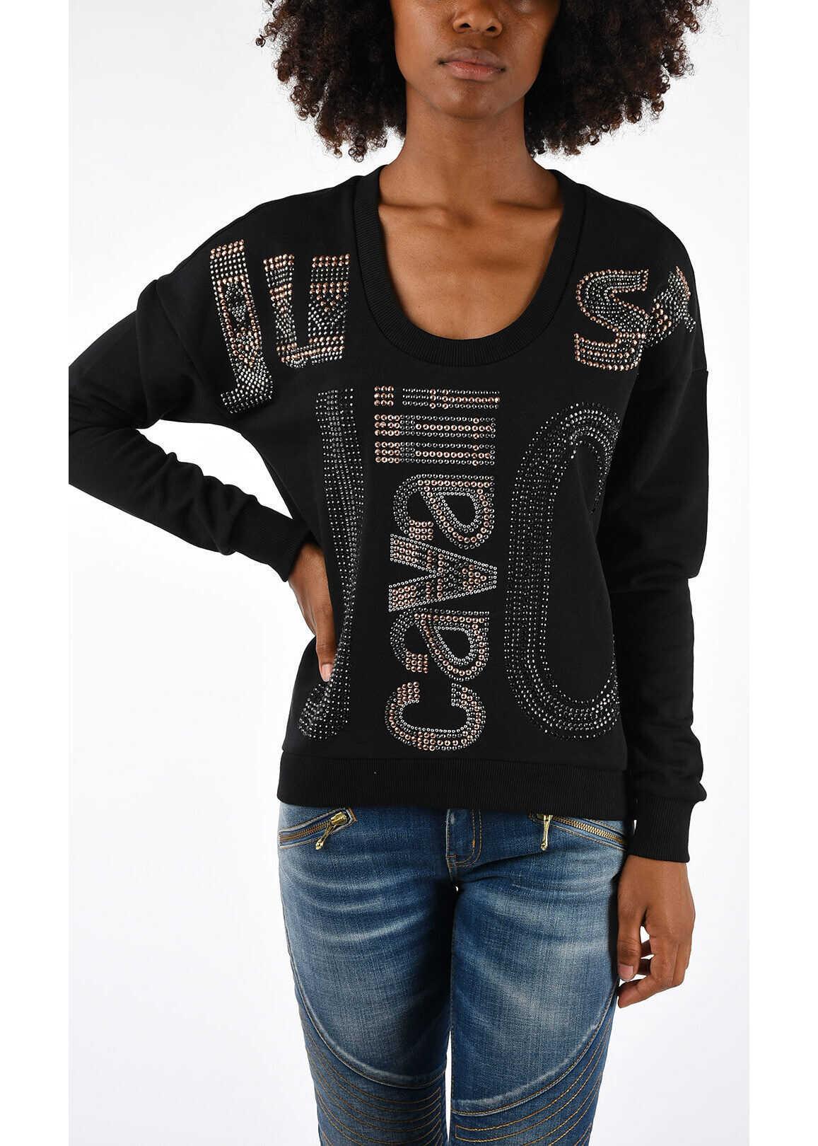 Just Cavalli Sweatshirt With Strass BLACK