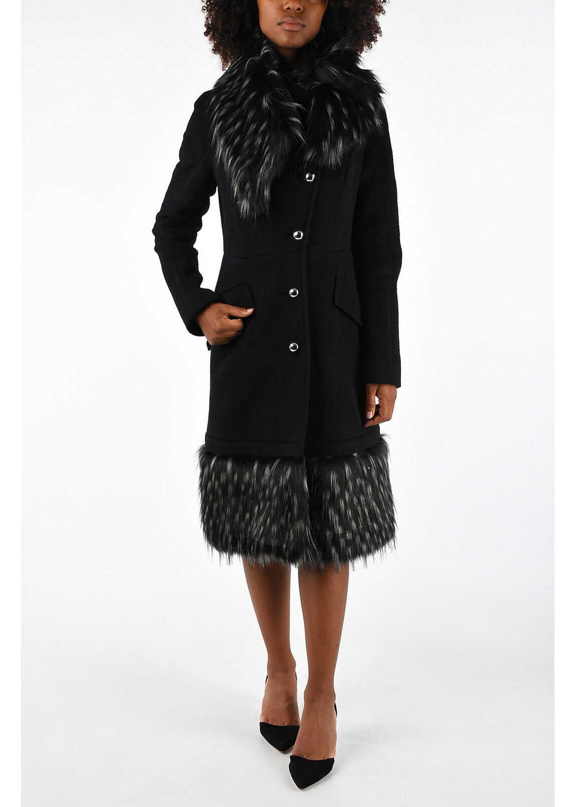 Just Cavalli Virgin Wool Coat with Eco Fur BLACK