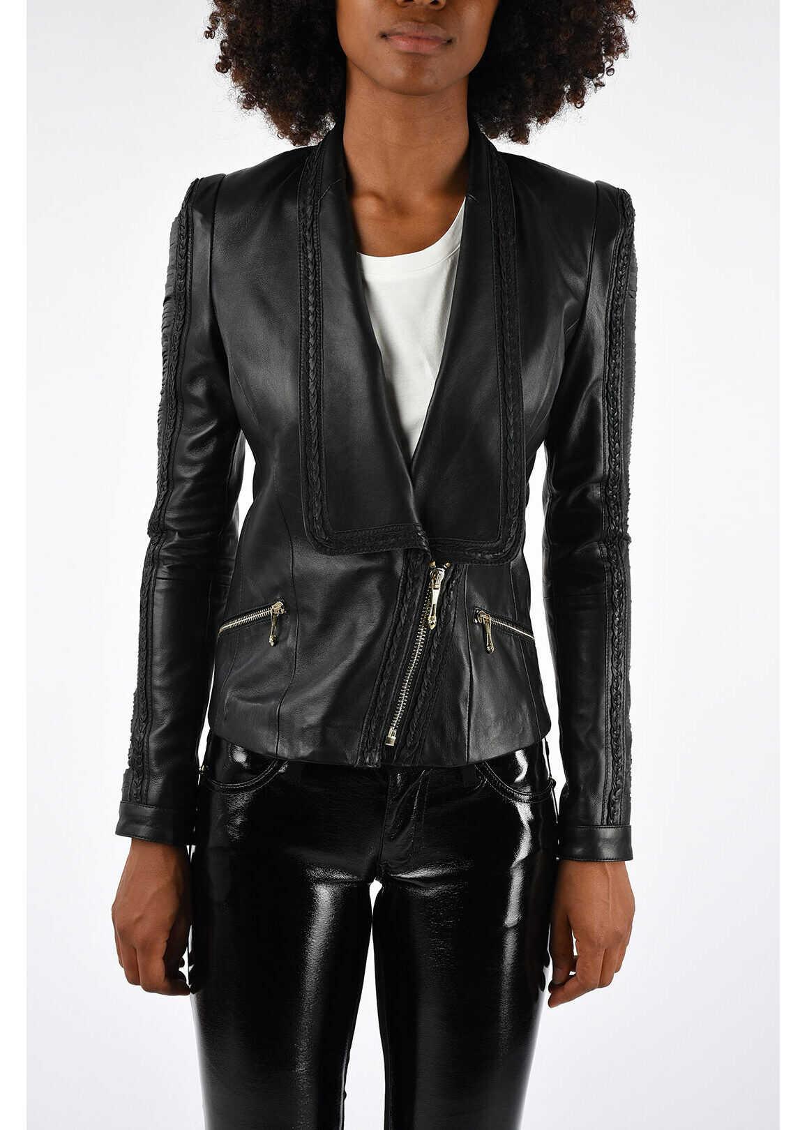Just Cavalli Leather Jacket BLACK