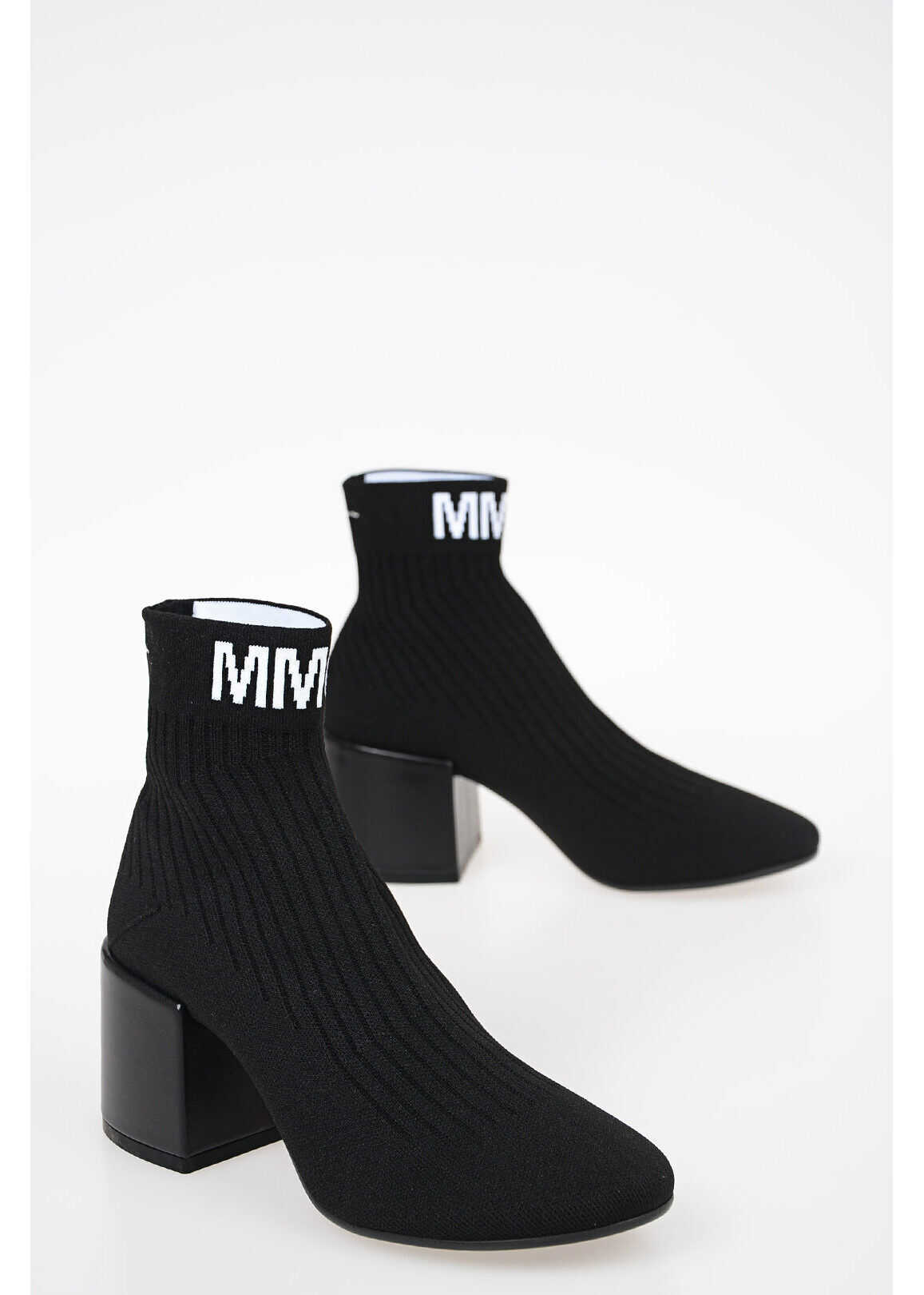 Maison Margiela MM6 6,5cm Fabric Socks FLARE Ankle Boots BLACK