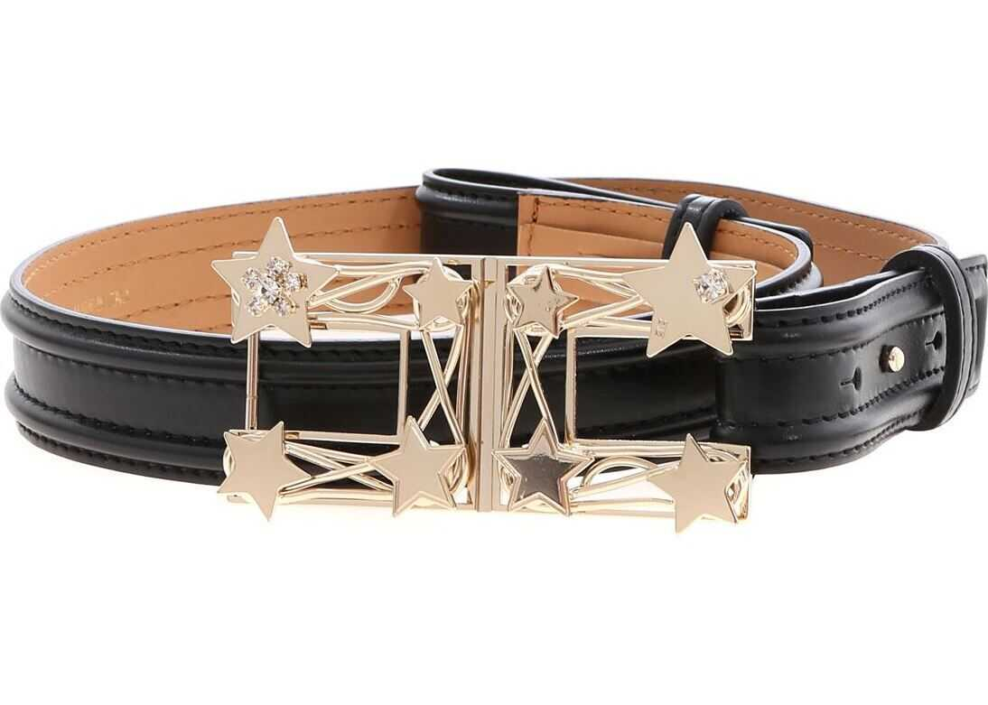 Elisabetta Franchi Black Belt With Star Logo Black