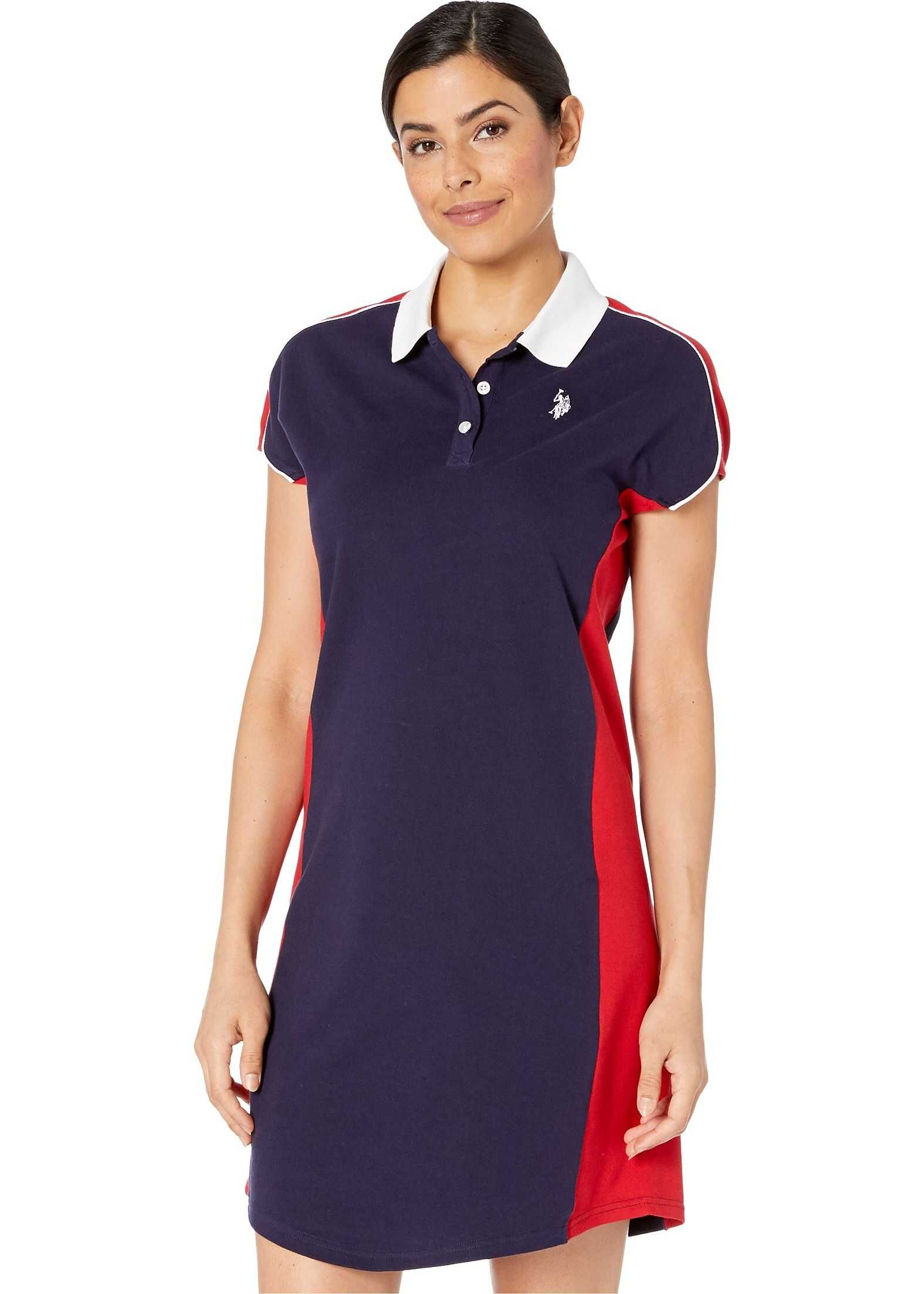 U.S. POLO ASSN. Side Panel Pique Dress Evening Blue