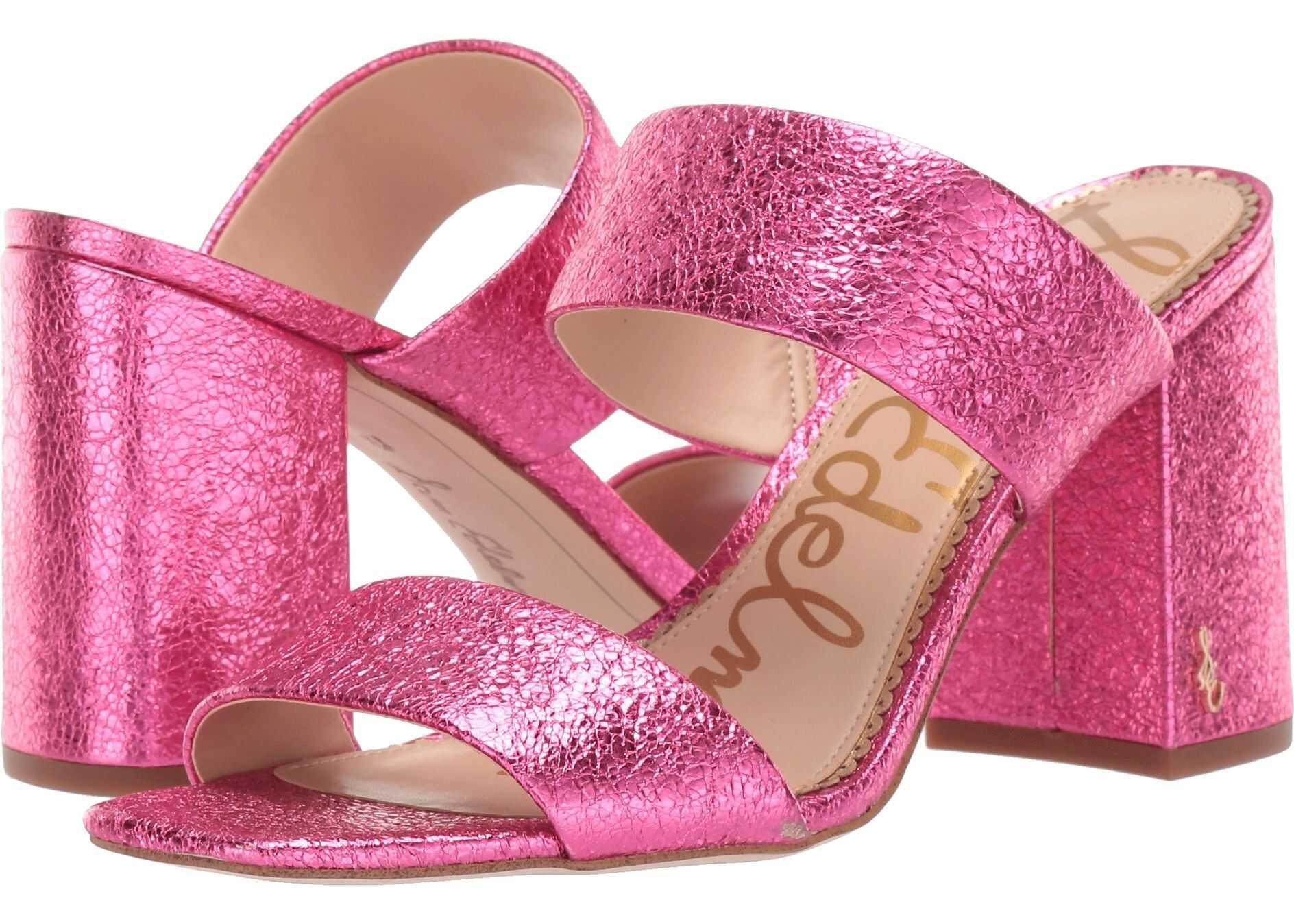 Sam Edelman Delaney Pomegranate Pink Soft Crinkle Metallic Leather