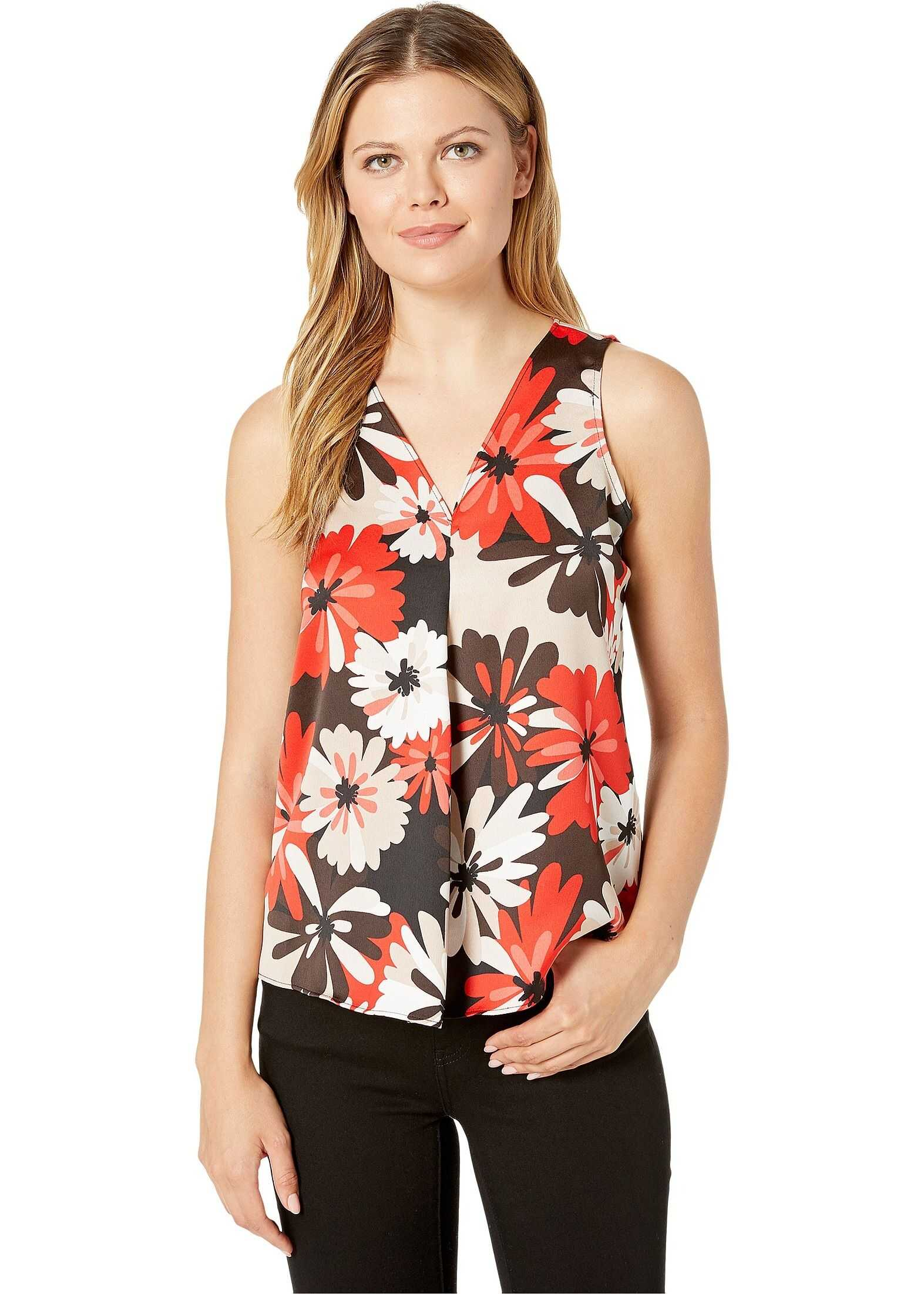 Calvin Klein V-Neck Soft Suiting Sleeveless Top Tango Multi