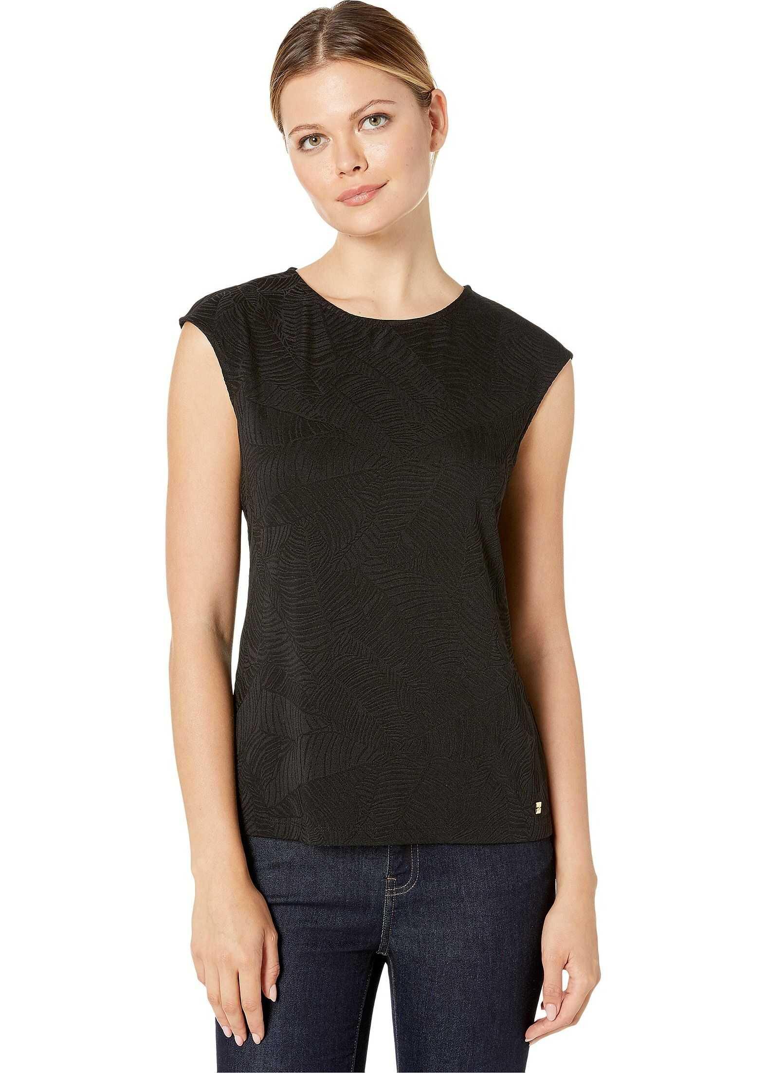 Calvin Klein Texture Cap Sleeve Knit Black/Black