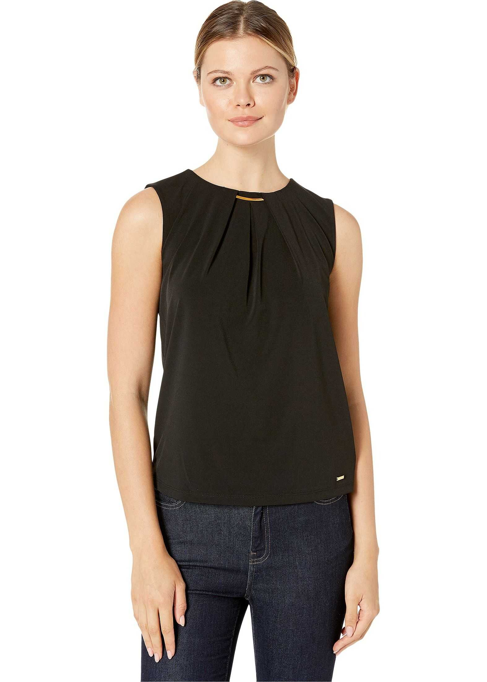 Calvin Klein Pleat Neck Cami w/ Hardware Black