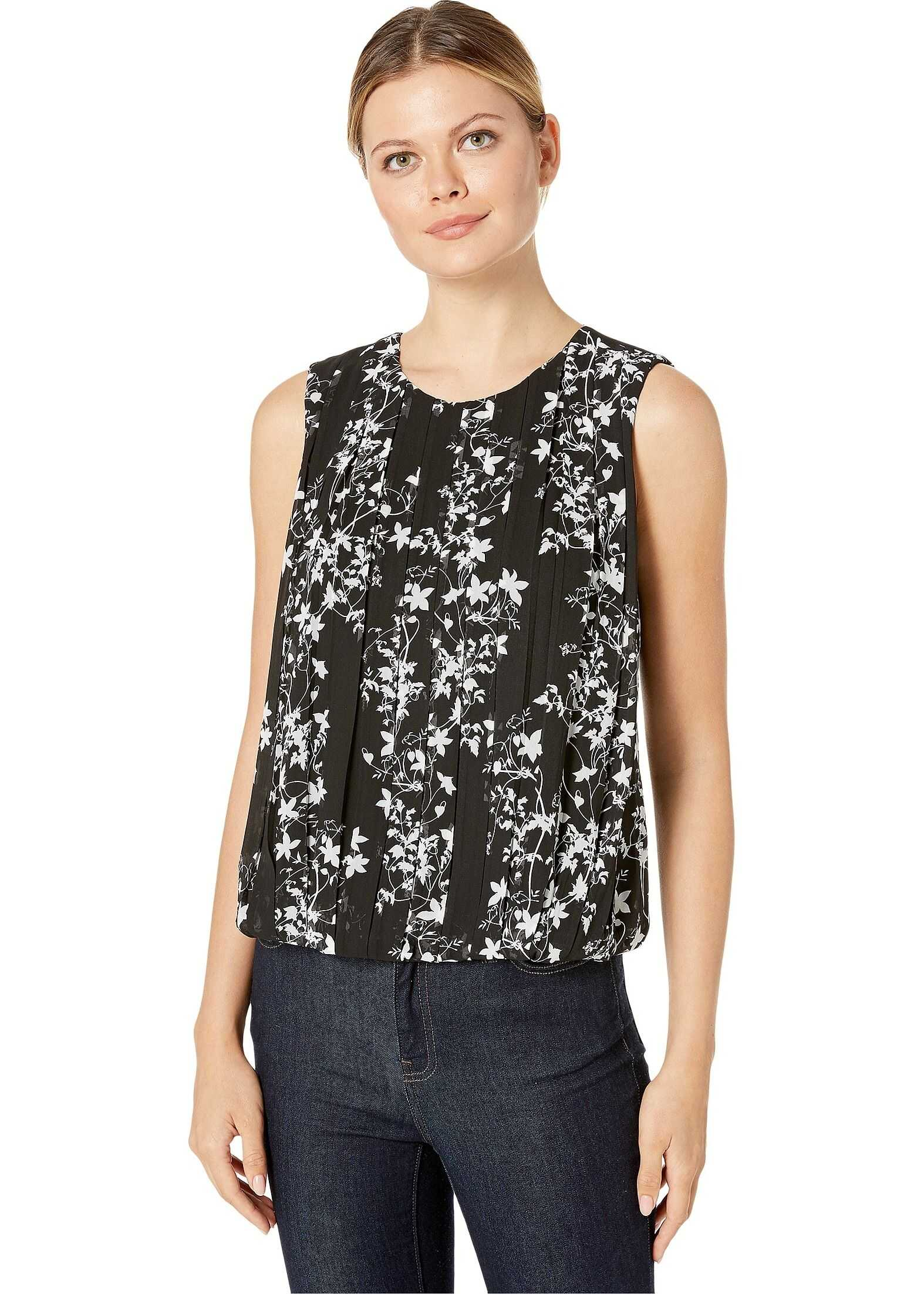 Calvin Klein Pleated Bubble Top Black/Cream