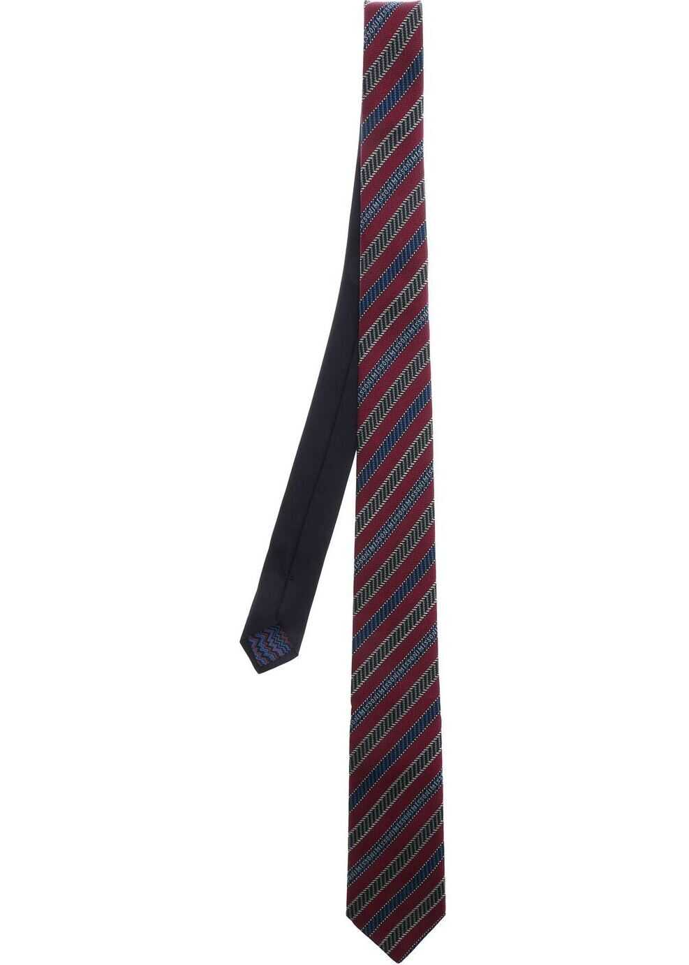 Missoni Purple Tie With Diagonal Lines Red