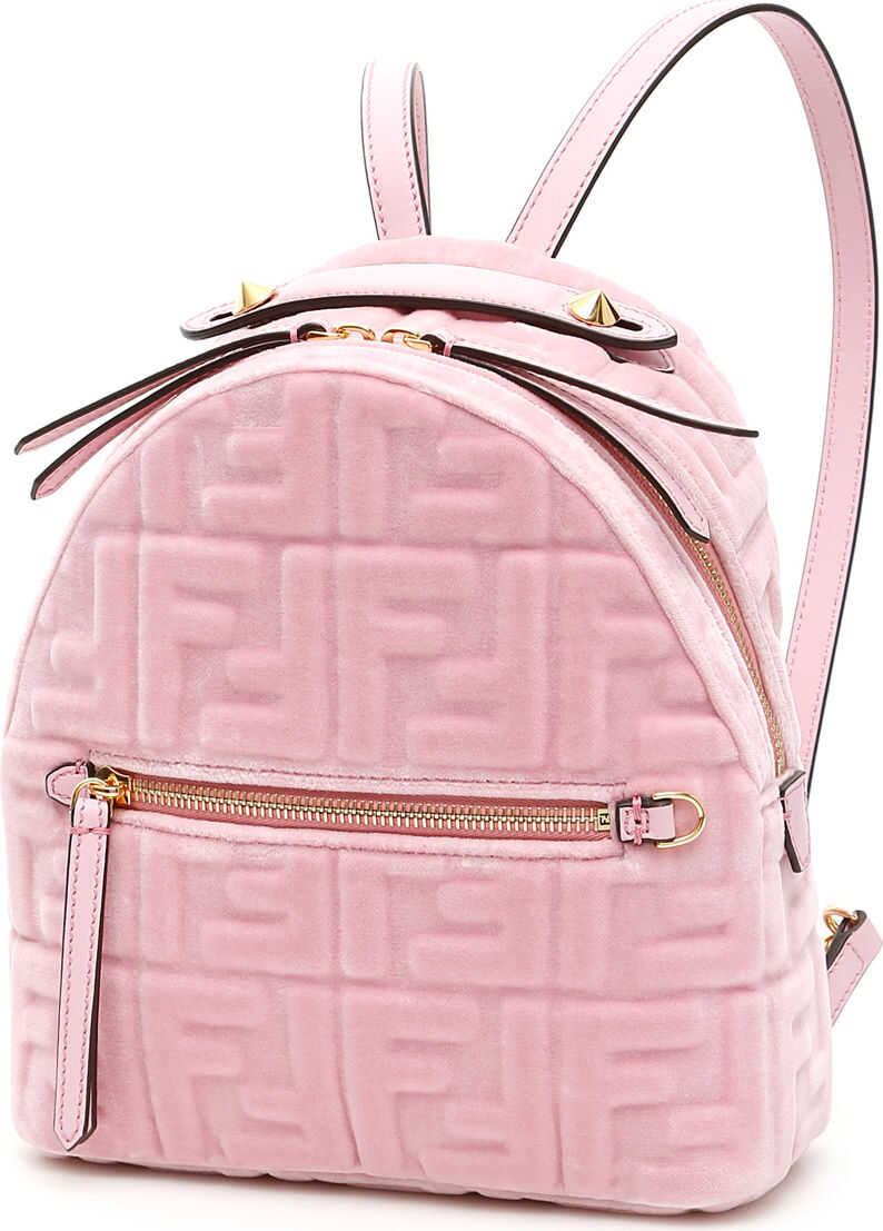 Fendi Velvet Ff Mini Backpack ROSA CONFETTO
