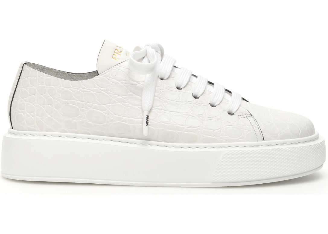 Prada Croc-Print Leather Sneakers BIANCO