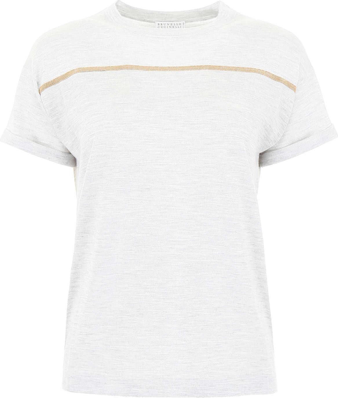 Brunello Cucinelli Embellished T-Shirt LIGHT GREY