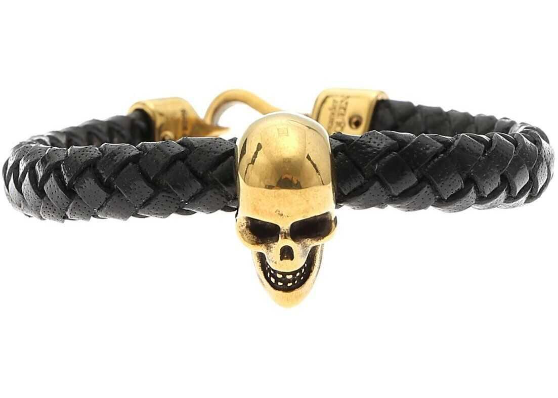Alexander McQueen Skull Bracelet In Black Leather Black