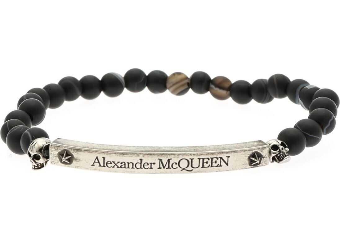 Alexander McQueen Skull Bracelet With Agate Beads Gray
