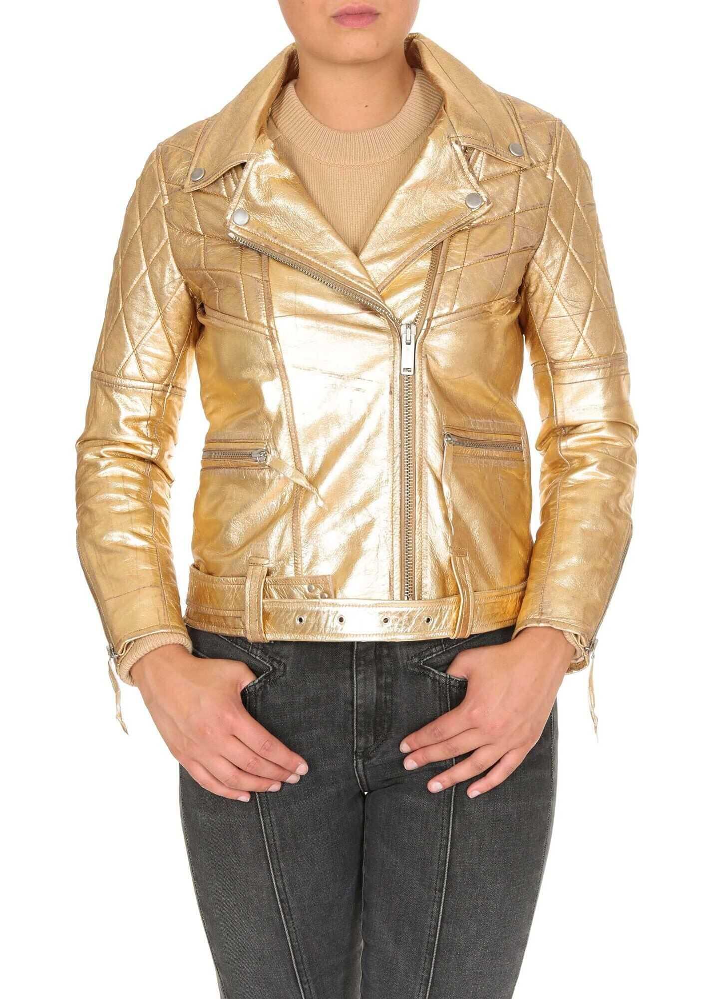 Golden Goose Yasu Leather Jacket In Golden Color Gold