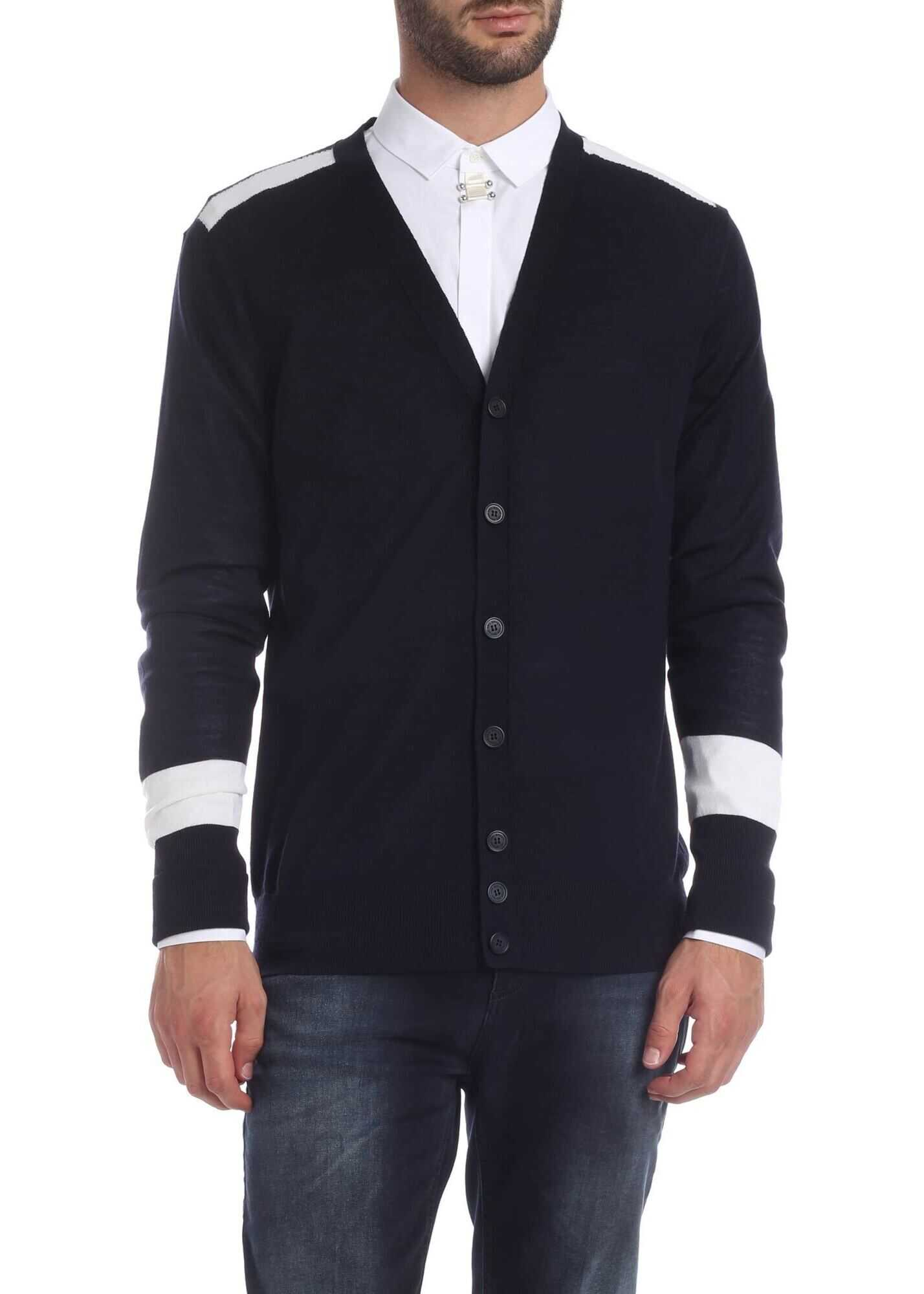 Neil Barrett Blue Cardigan With White Details Blue