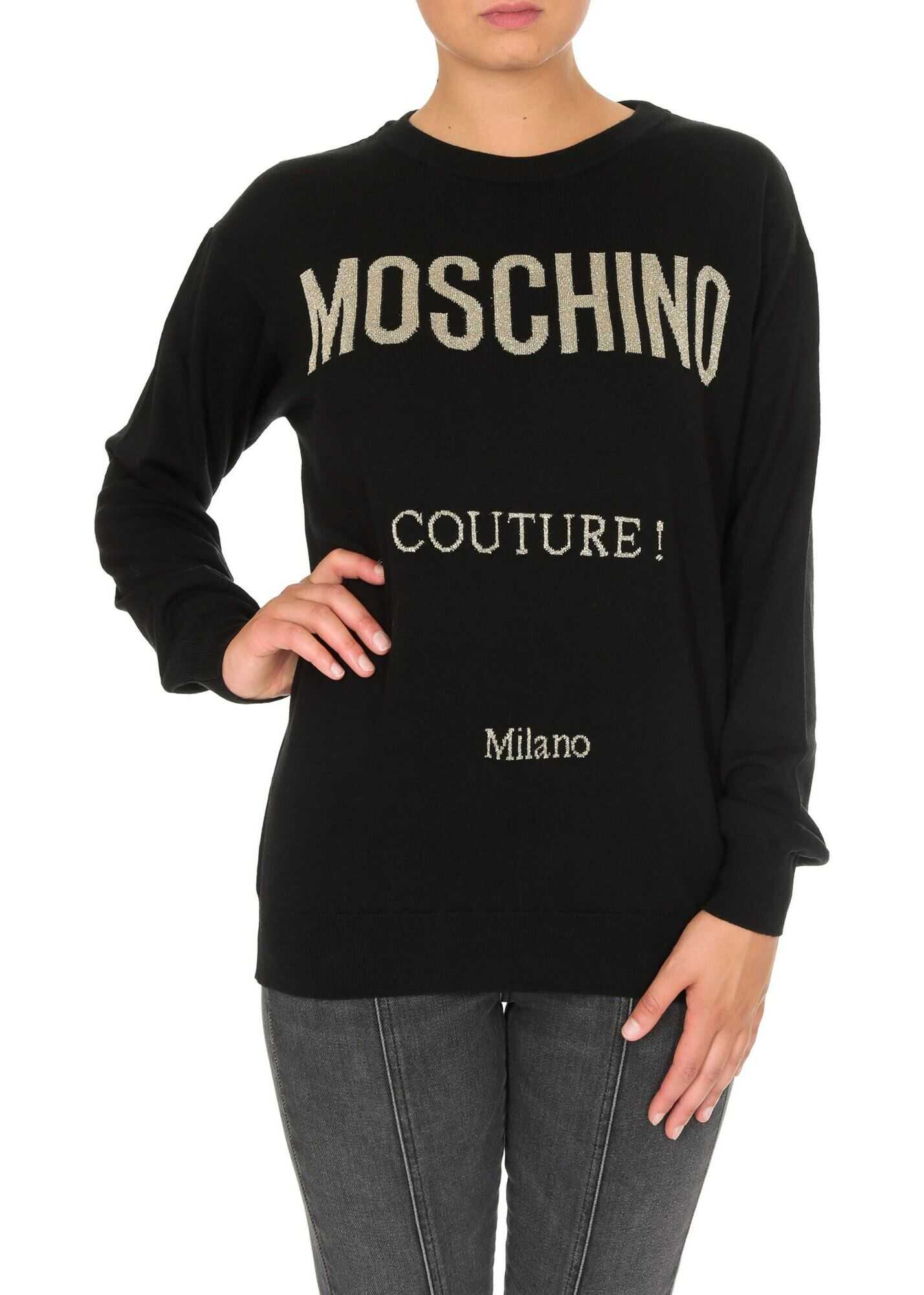 Moschino Black Pullover With Moschino Couture Logo Black