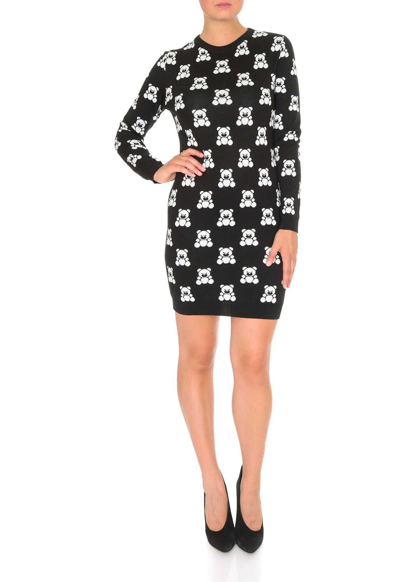 Moschino Teddy Bear Embroidered Dress In Black Cotton Black