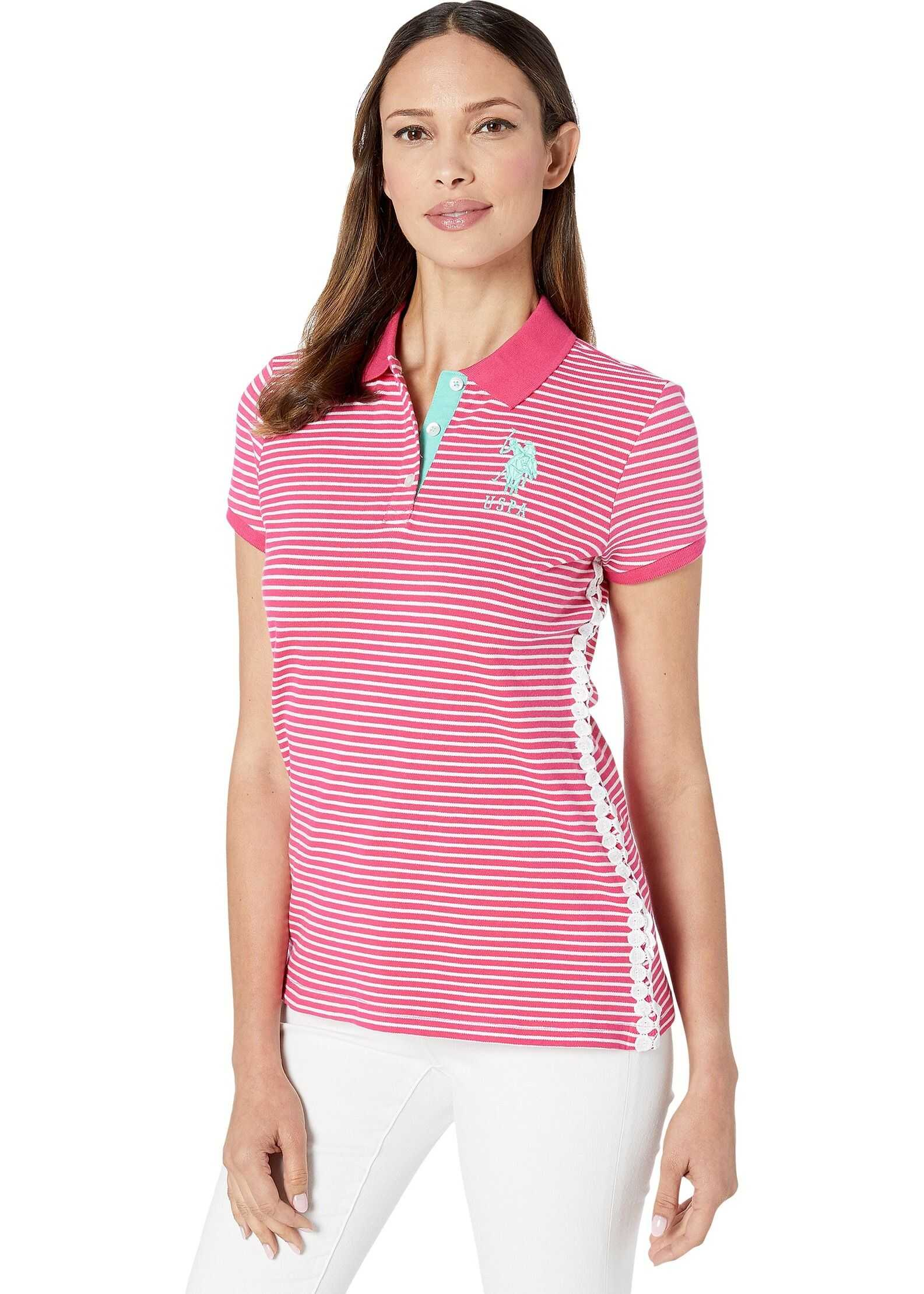 U.S. POLO ASSN. Stripe w/ Lace Side Polo Rose Tropical