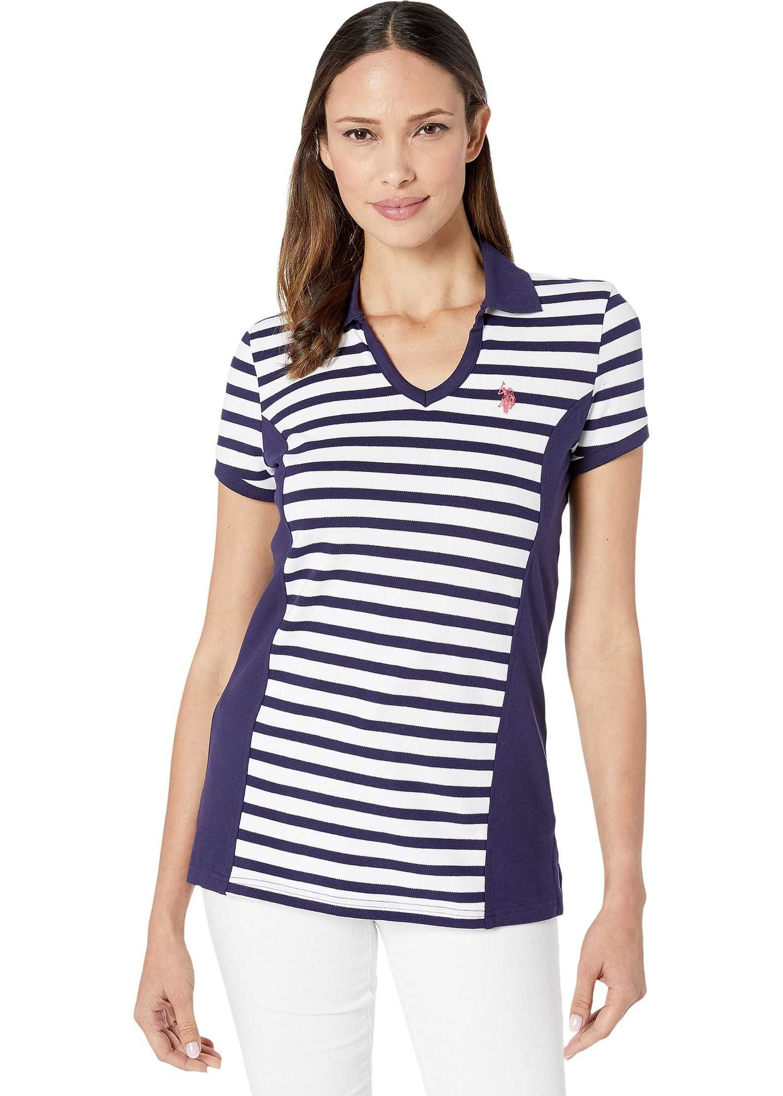 U.S. POLO ASSN. Stripe Side Seam Polo Evening Blue