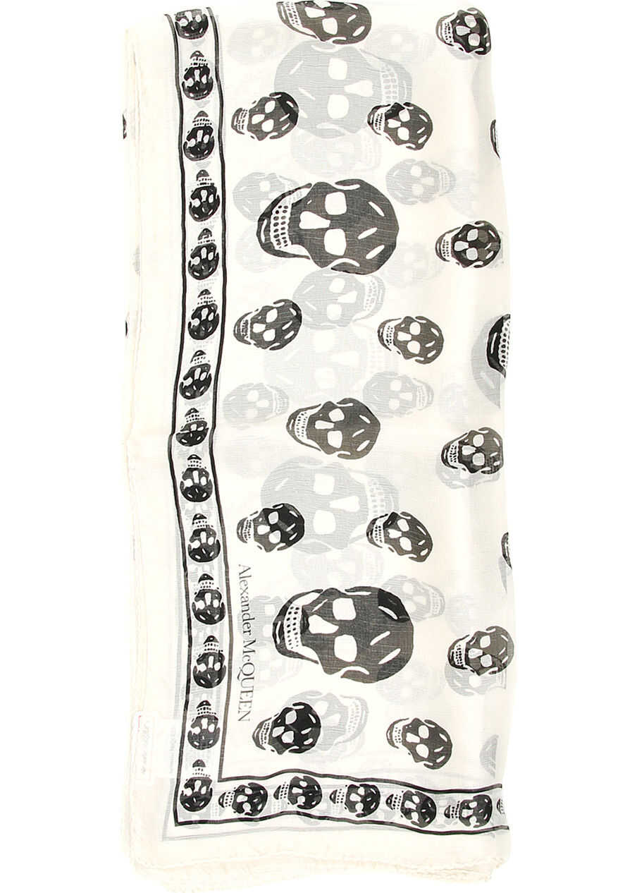 Alexander McQueen Silk Skull Scarf IVORY BLACK