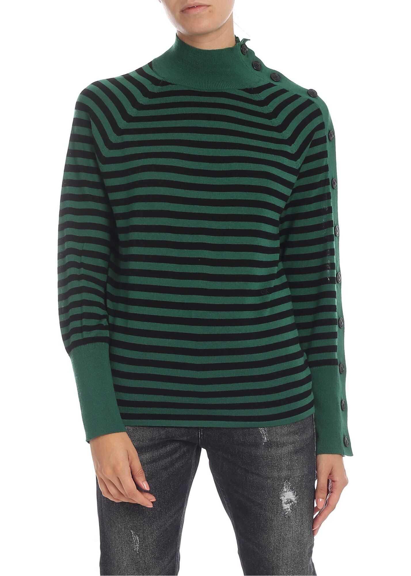 Calvin Klein Green Striped Shirt With Buttons Green