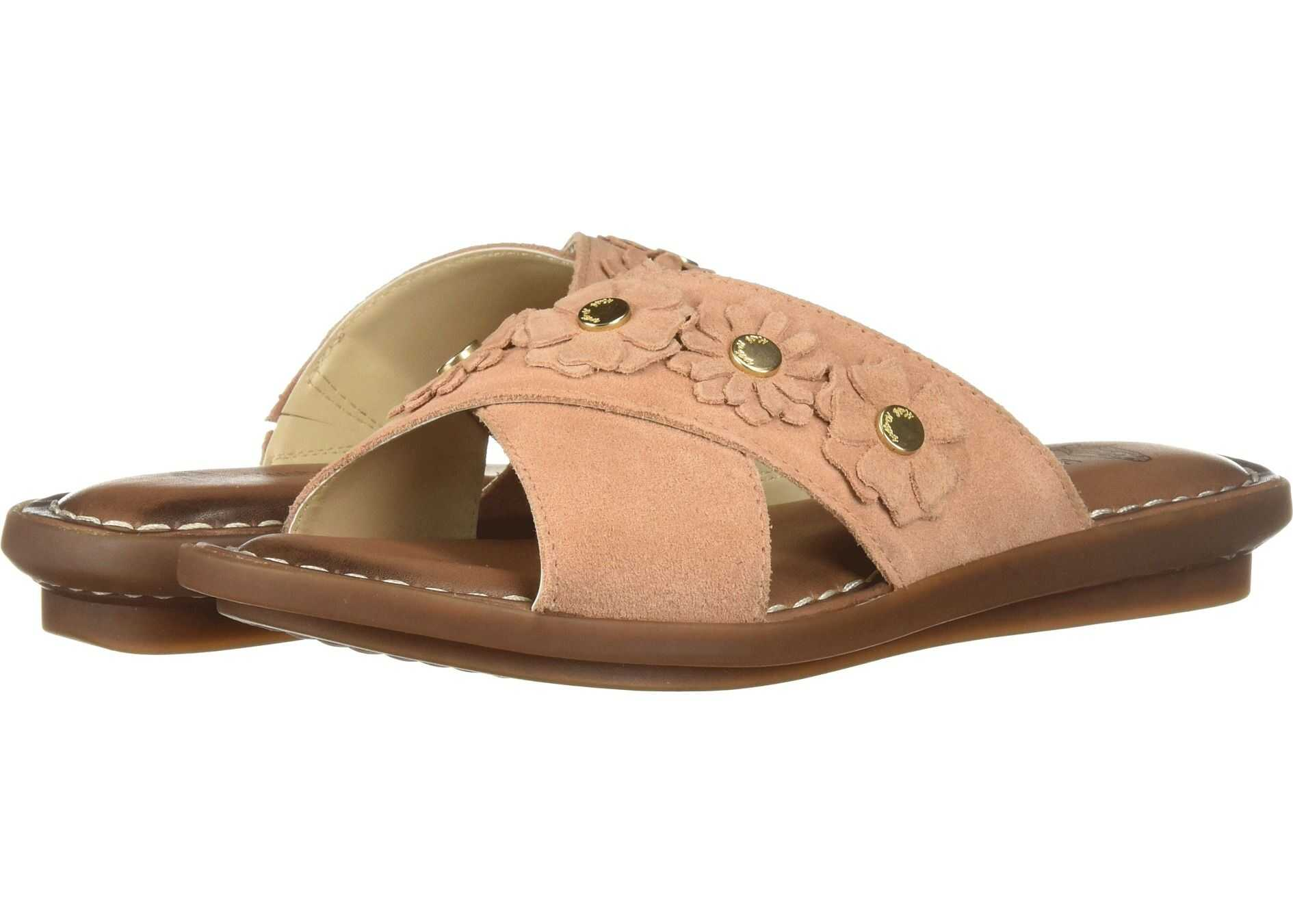 Hush Puppies Olive Cross Band Slide Pale Peach Suede