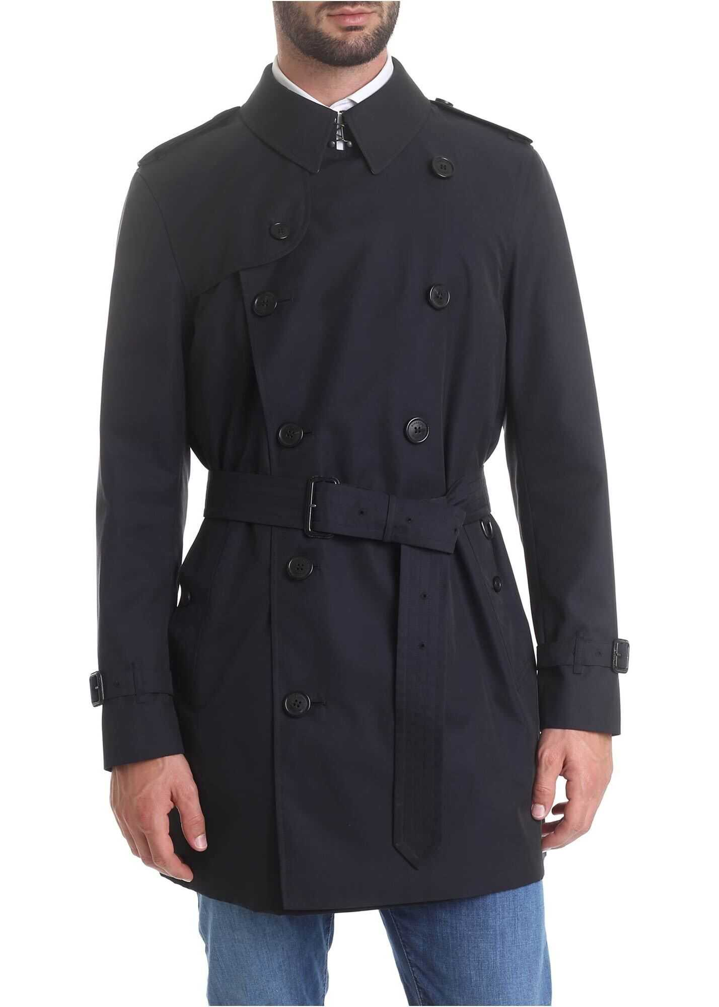 Burberry Wimbledon Trench Coat In Navy Blue Blue