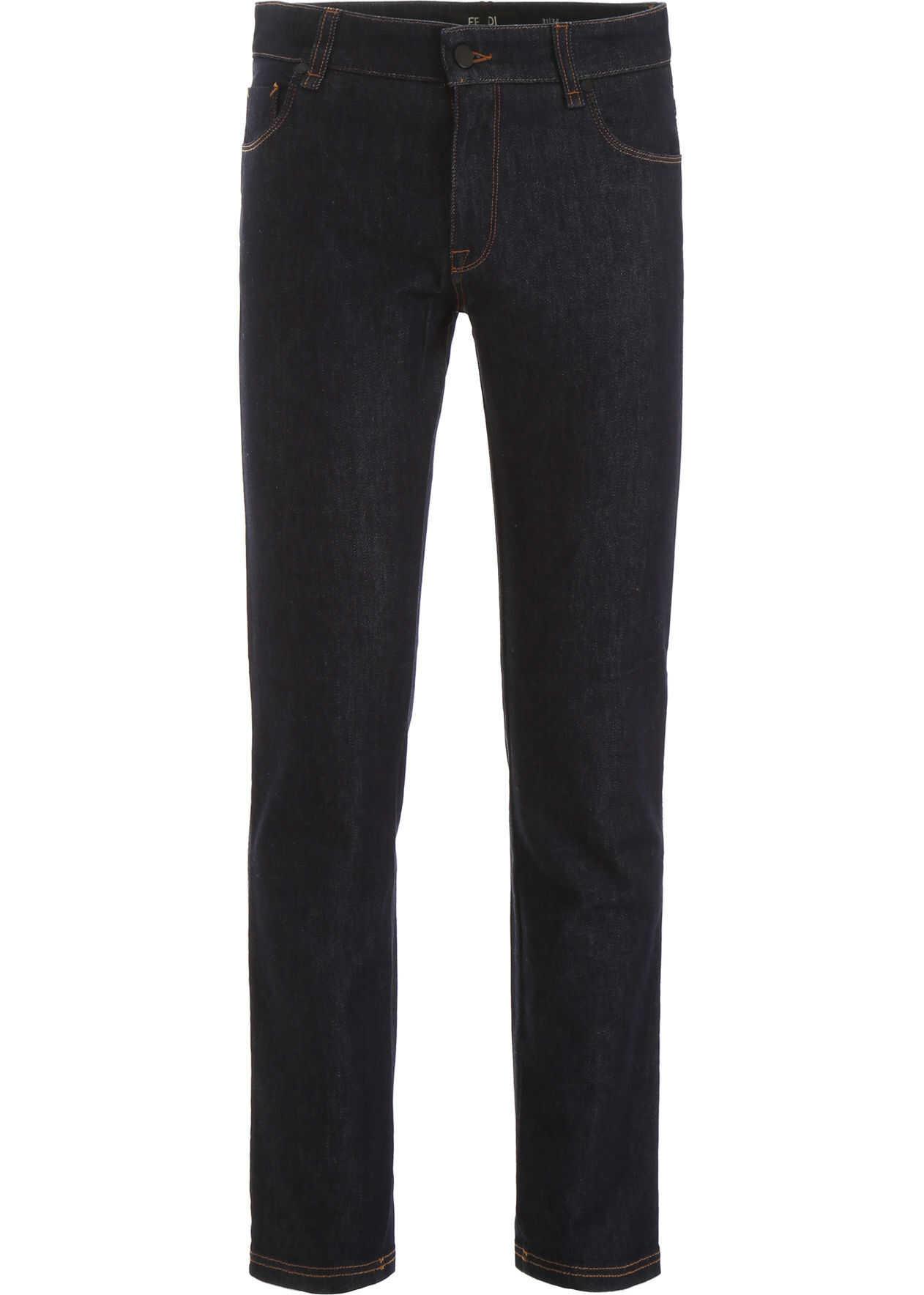 Fendi Jeans With Logo Bands DARK BLU