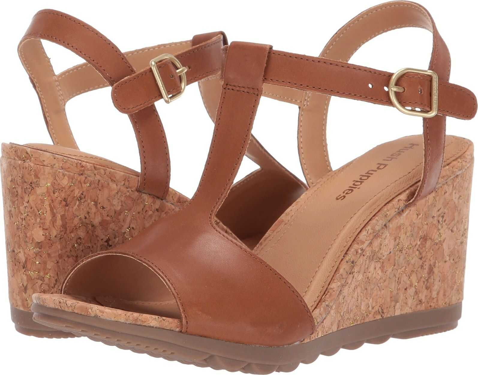 Hush Puppies Pekingese T-Strap Tan Leather