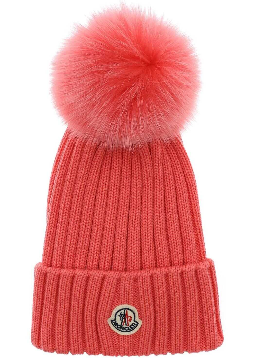 Moncler Salmon Pink Wool Beanie With Pom Pon Pink