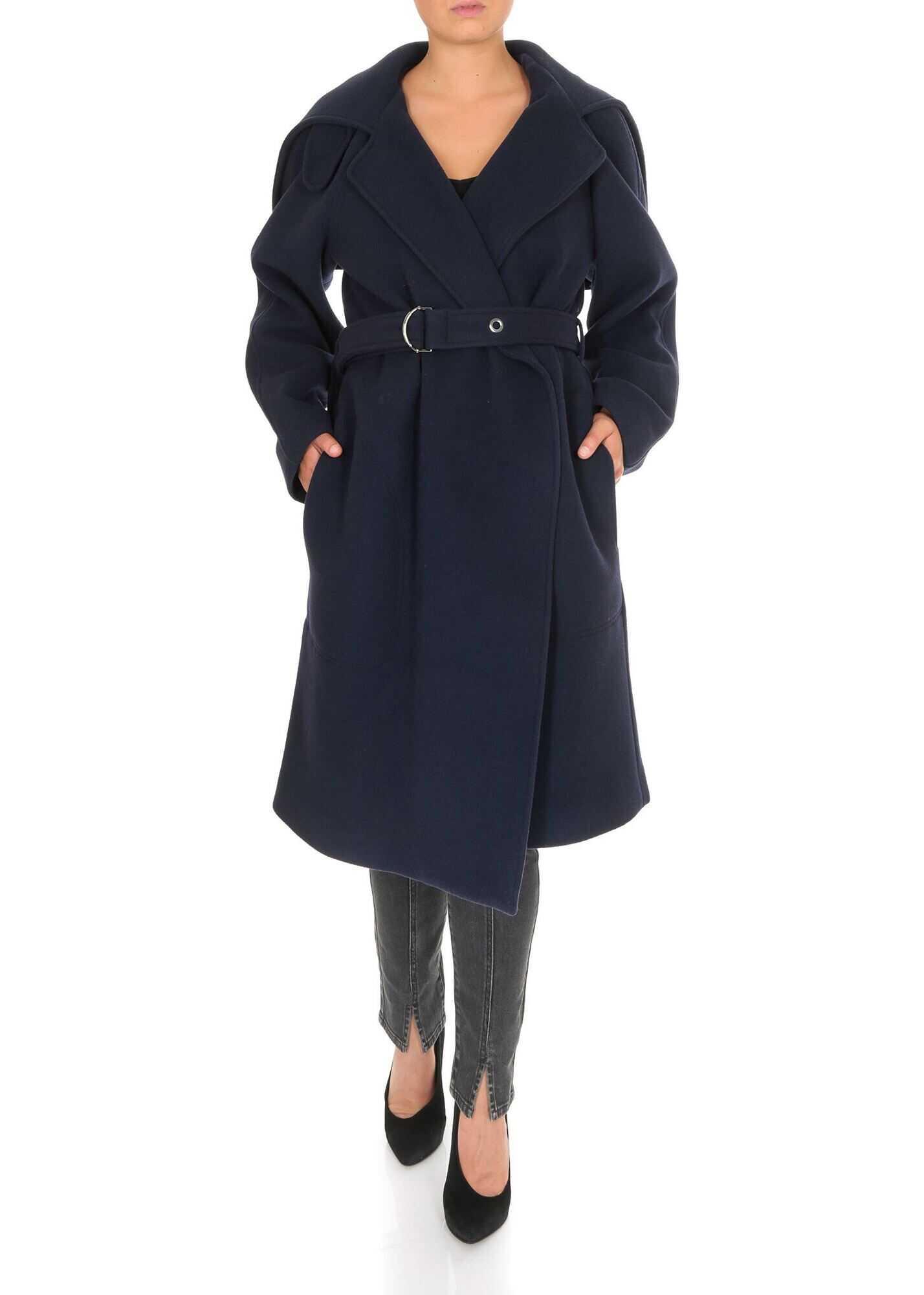 Chloe Knee-Length Coat In Evening Blue Color Blue