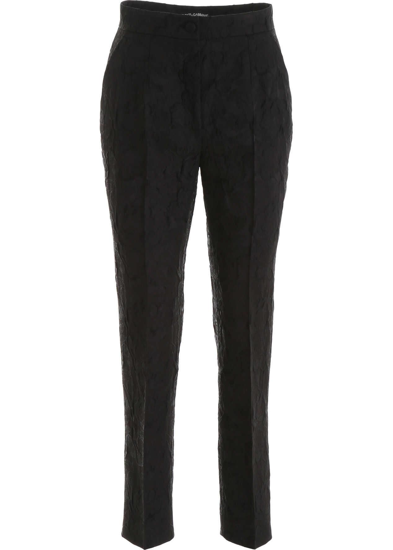Dolce & Gabbana Floral Jacquard Trousers NERO