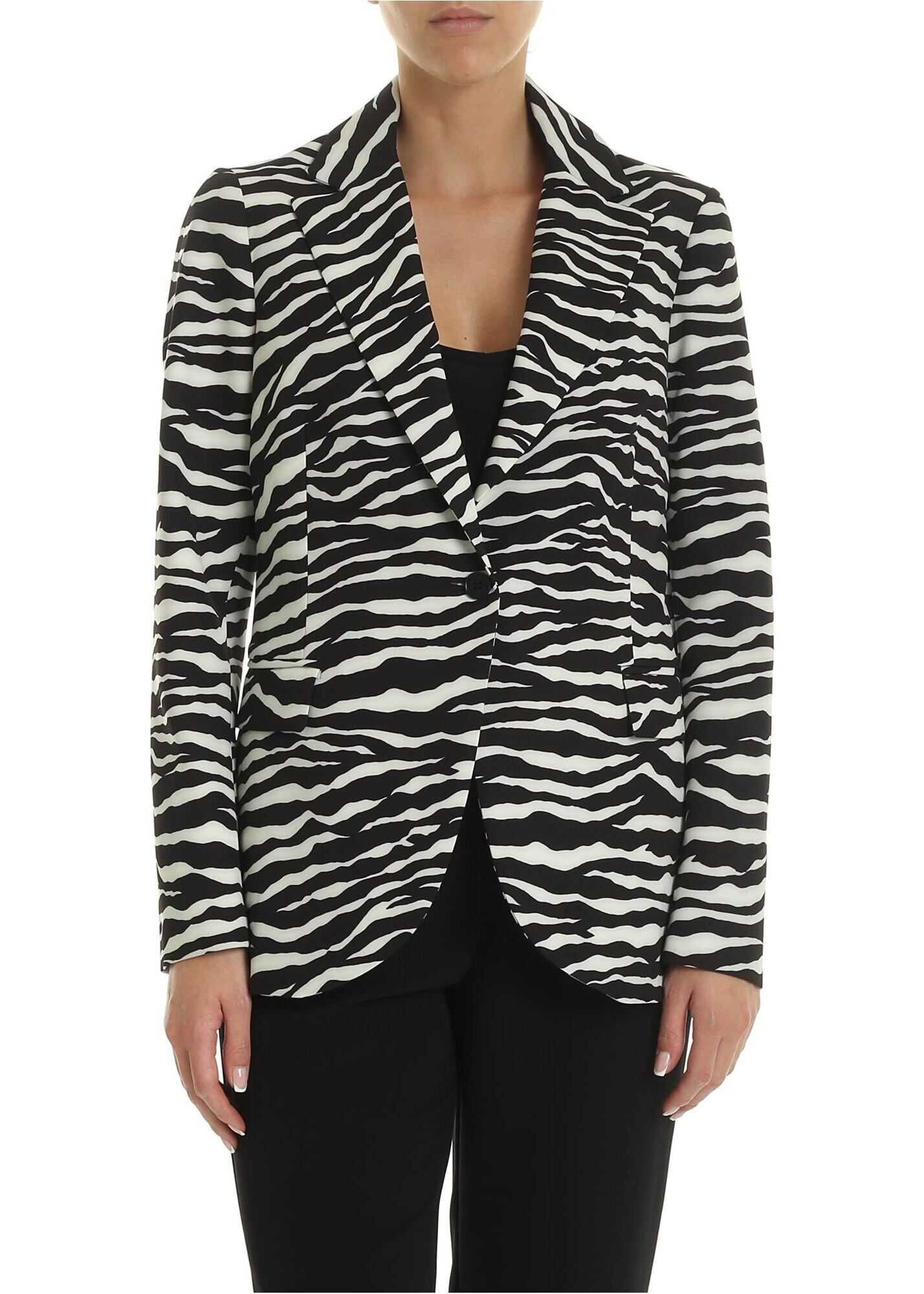 P.A.R.O.S.H. Zebra Printed Single-Breasted Jacket In Black And Ivory Animal print