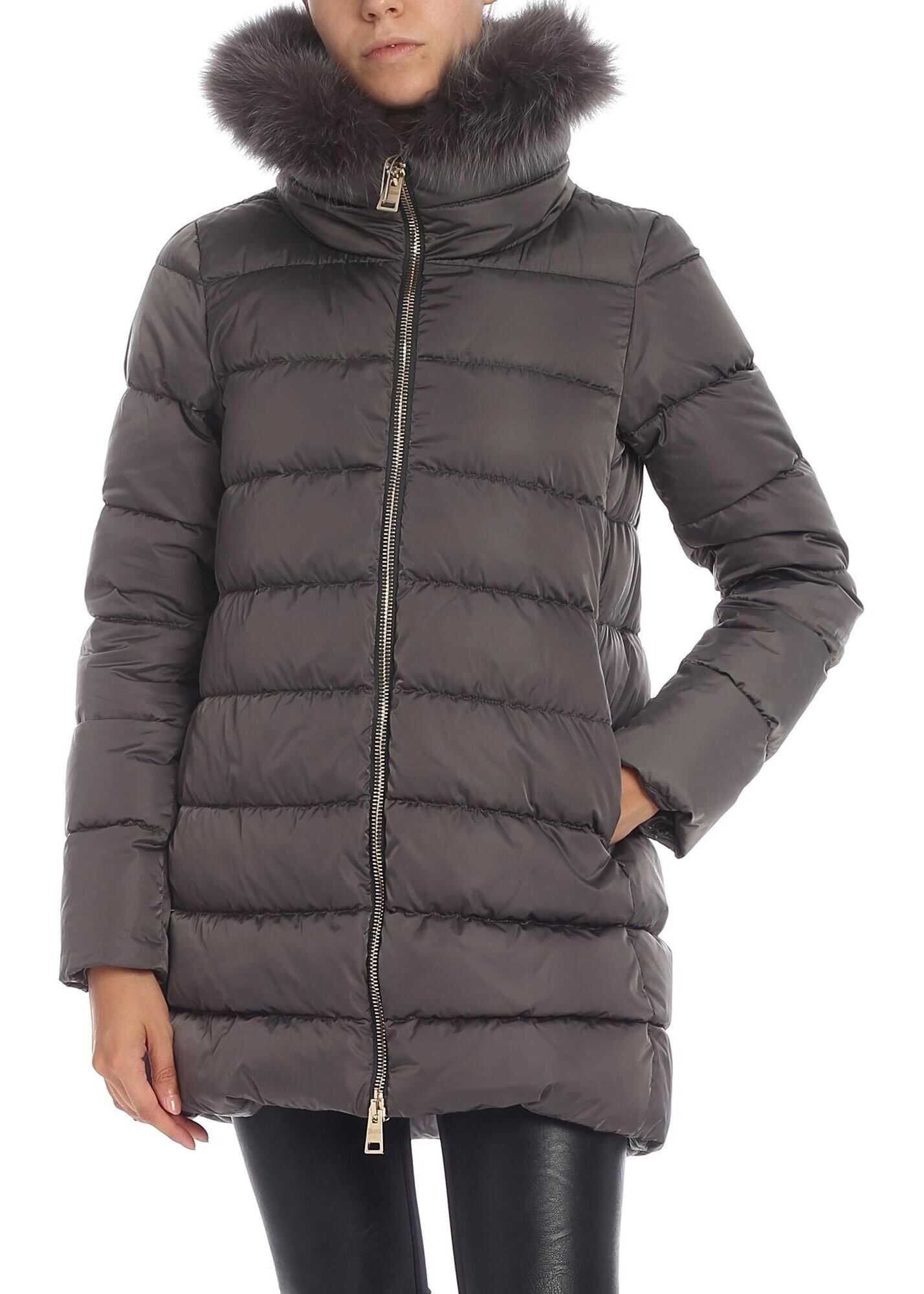 Herno Gray Down Jacket With Fur Collar Grey