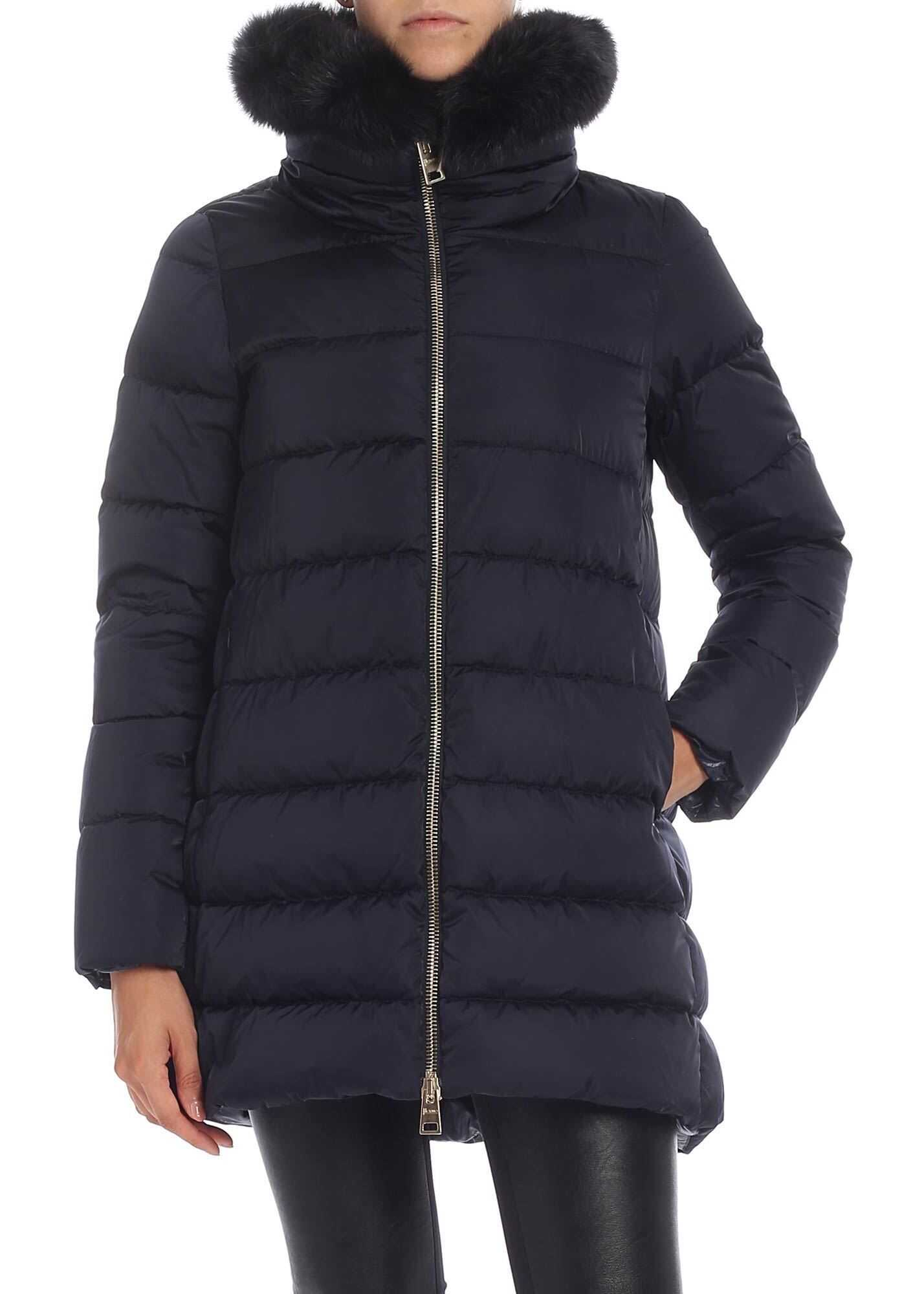 Herno Blue Down Jacket With Fur Collar Blue