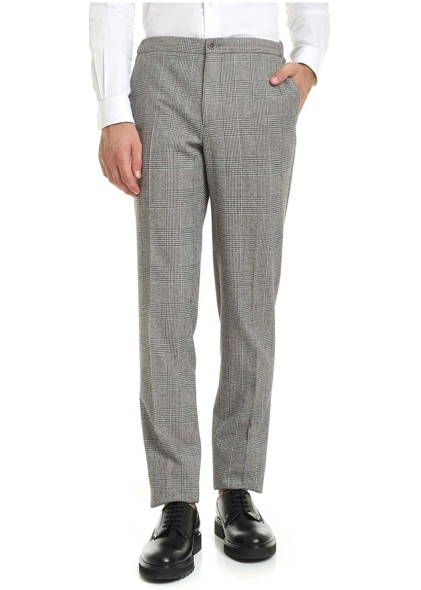 Incotex Brown Prince Of Wales Check Trousers Brown imagine