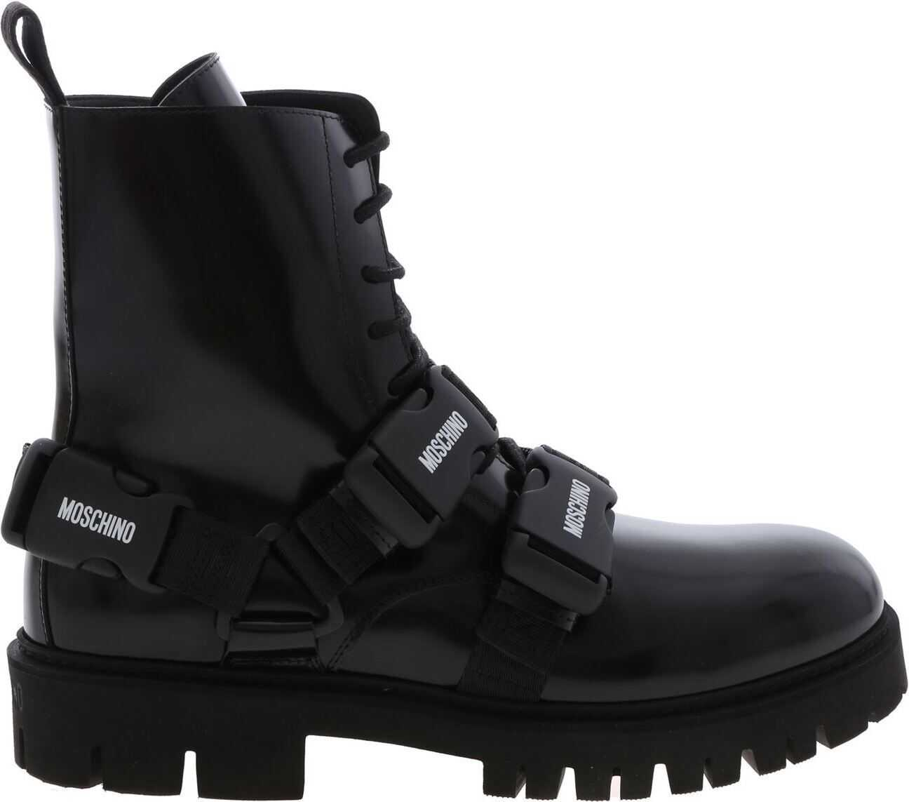 Moschino Black Ankle Boots With Straps Black