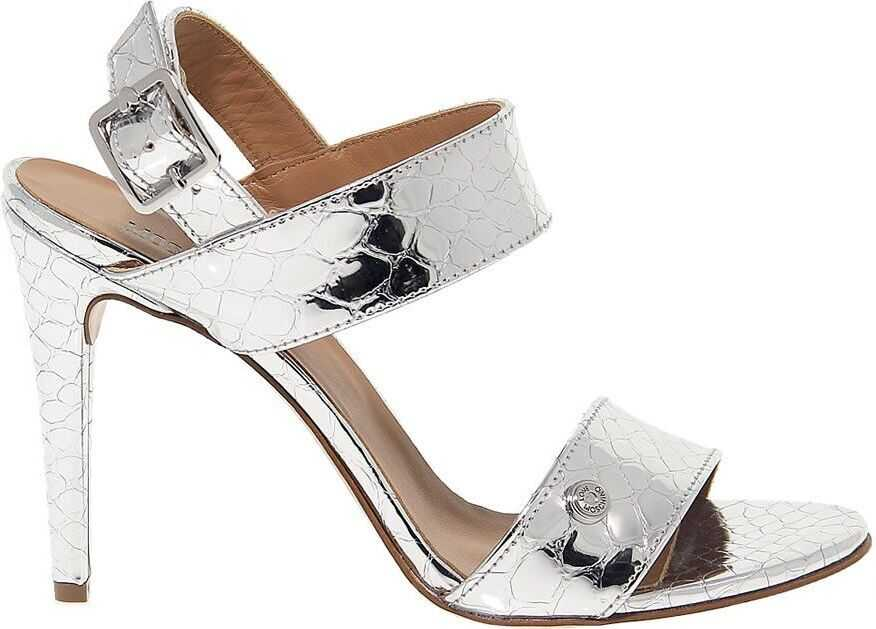 LOVE Moschino Leather Sandals SILVER