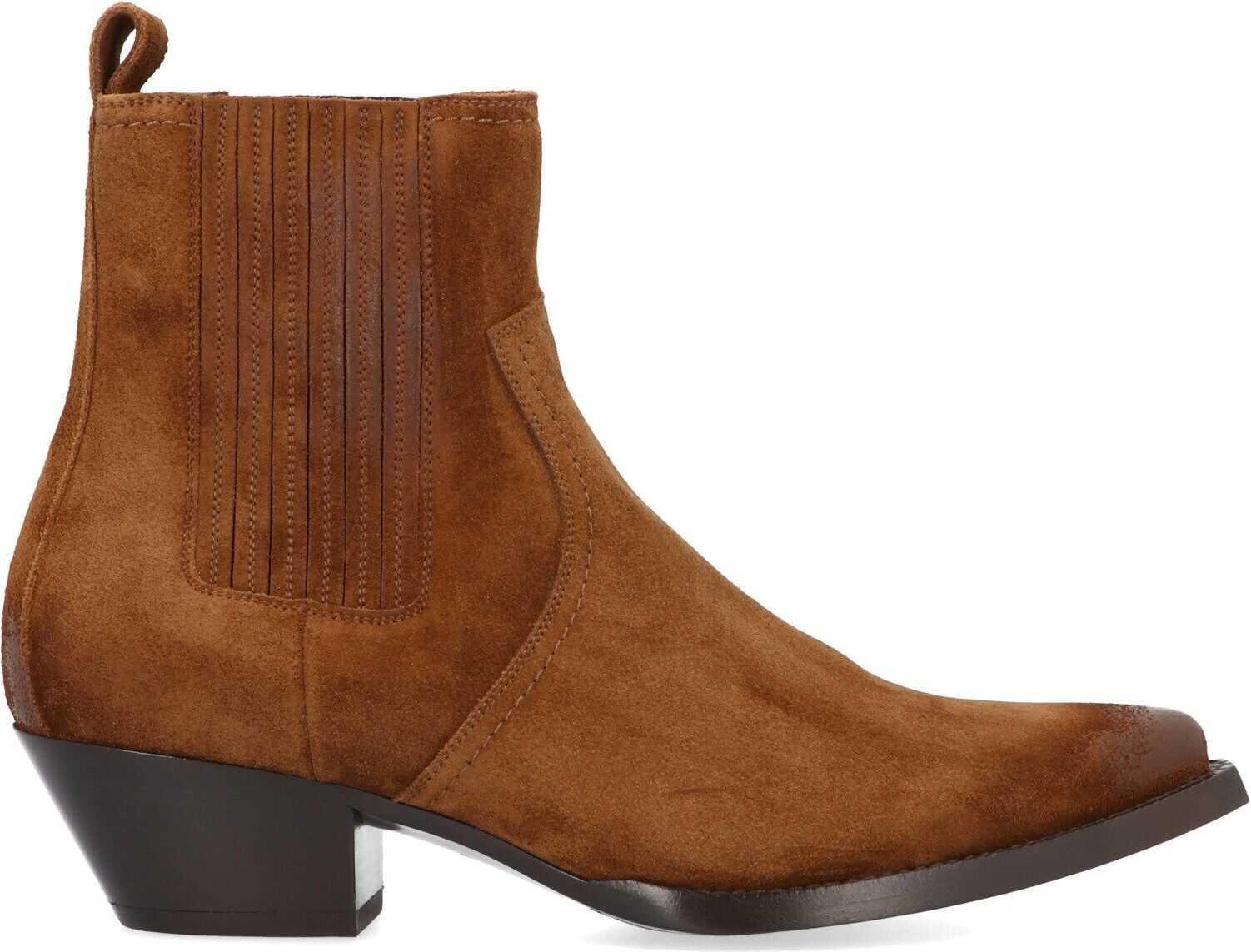Saint Laurent Suede Ankle Boots BROWN